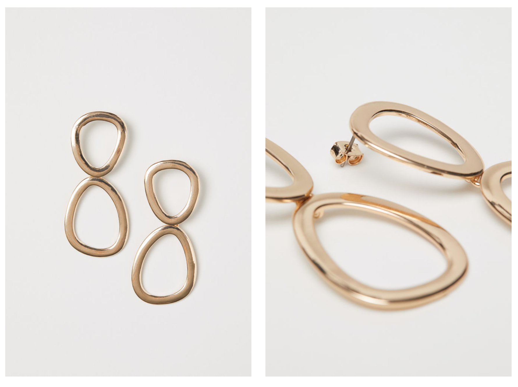 Gold Metal Earrings - As you can see, I'm a big fan of metal earrings. Especially when the design is geometric like those pretty ones from H&M which only cost £6.99! Get them here