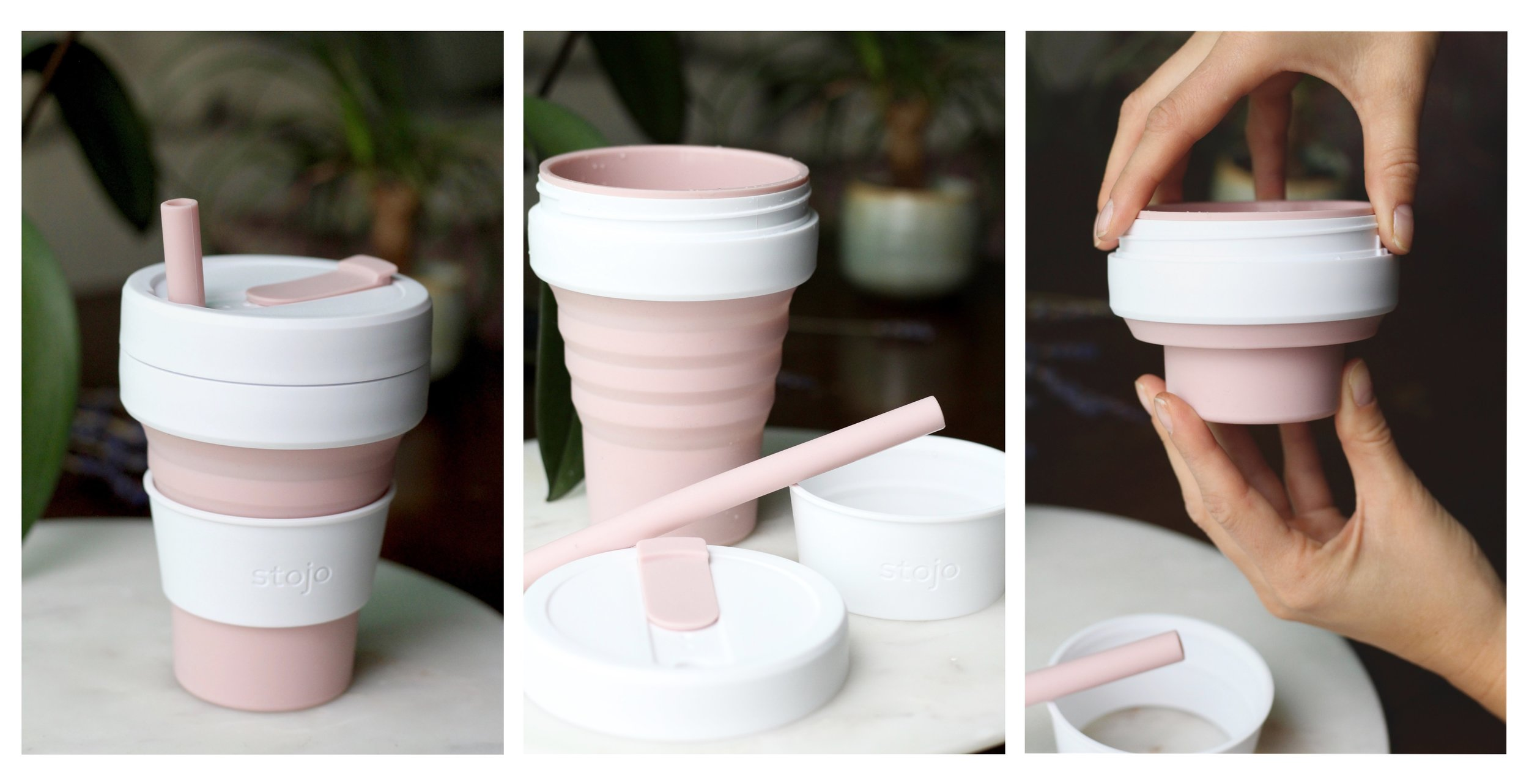 Stojo - reusable and collapsible cup with straw.