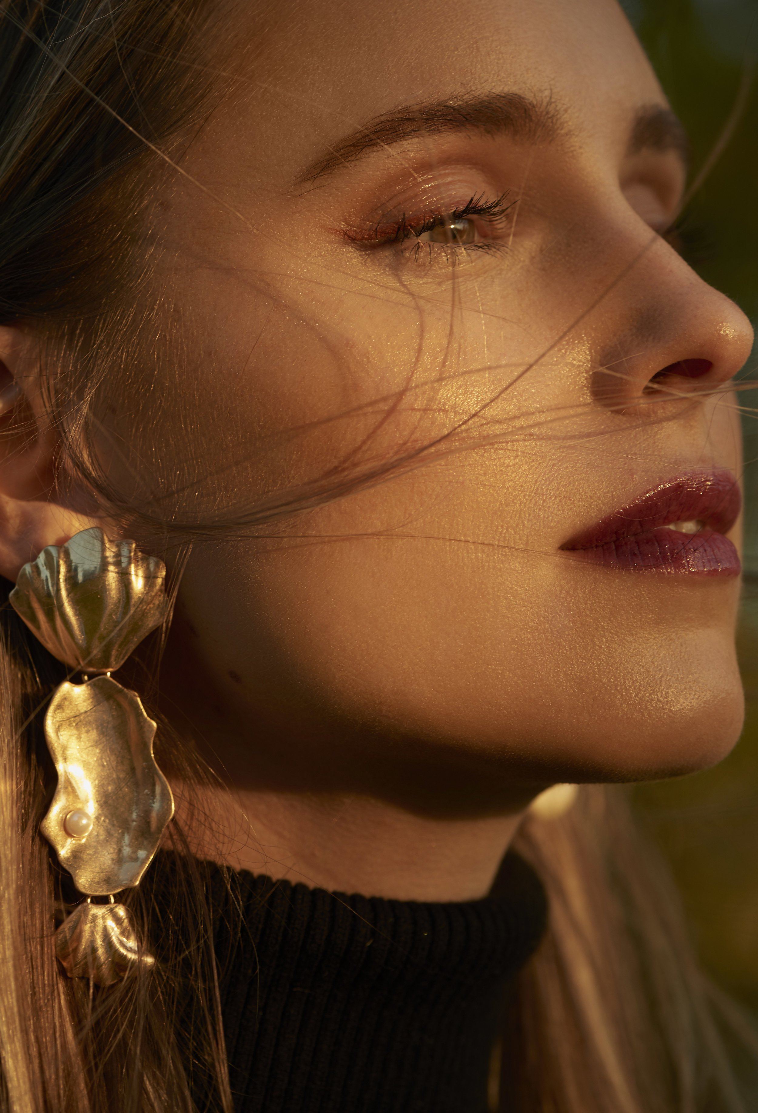 Make up close up and statement earrings