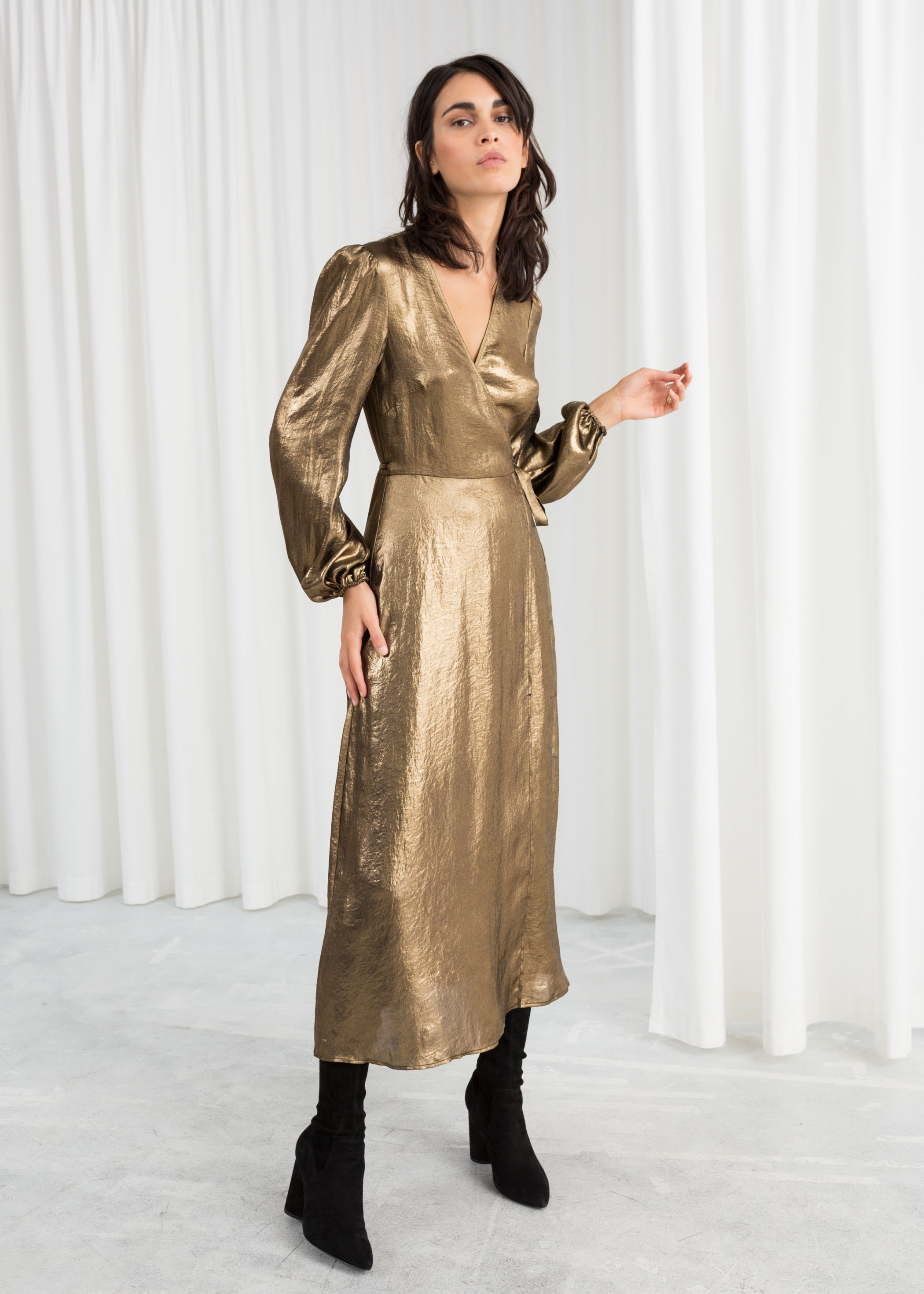 Metallic Satin Dress in gold from & Other Stories -  Shop here!