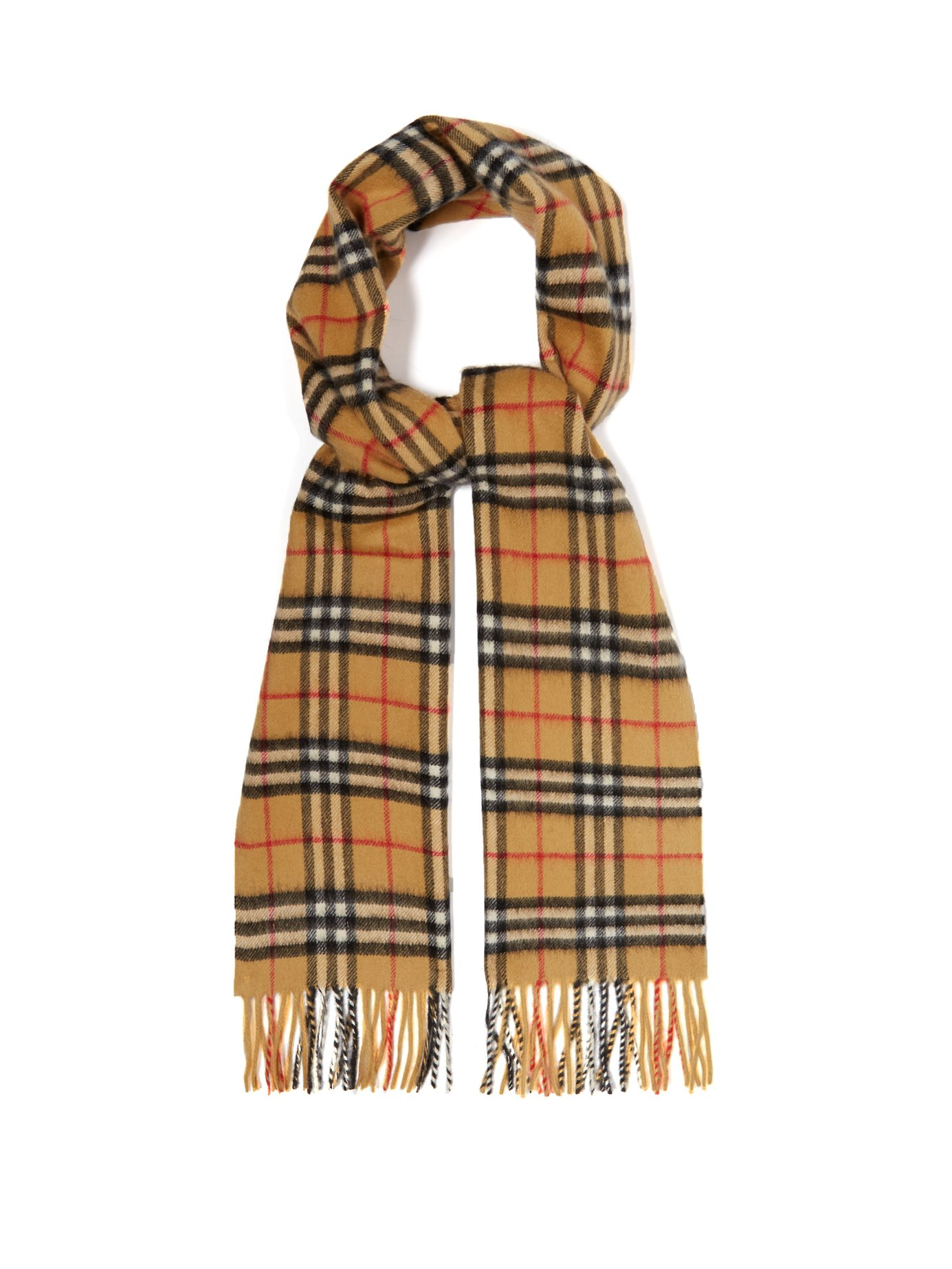 Vintage-check cashmere scarf - BURBERRY Reintroduced Vintage-check pattern from Burberry based on an archival print from the 1960s. It's constructed in Scotland to a generous size – it's finished with fringed ends. Buy it here