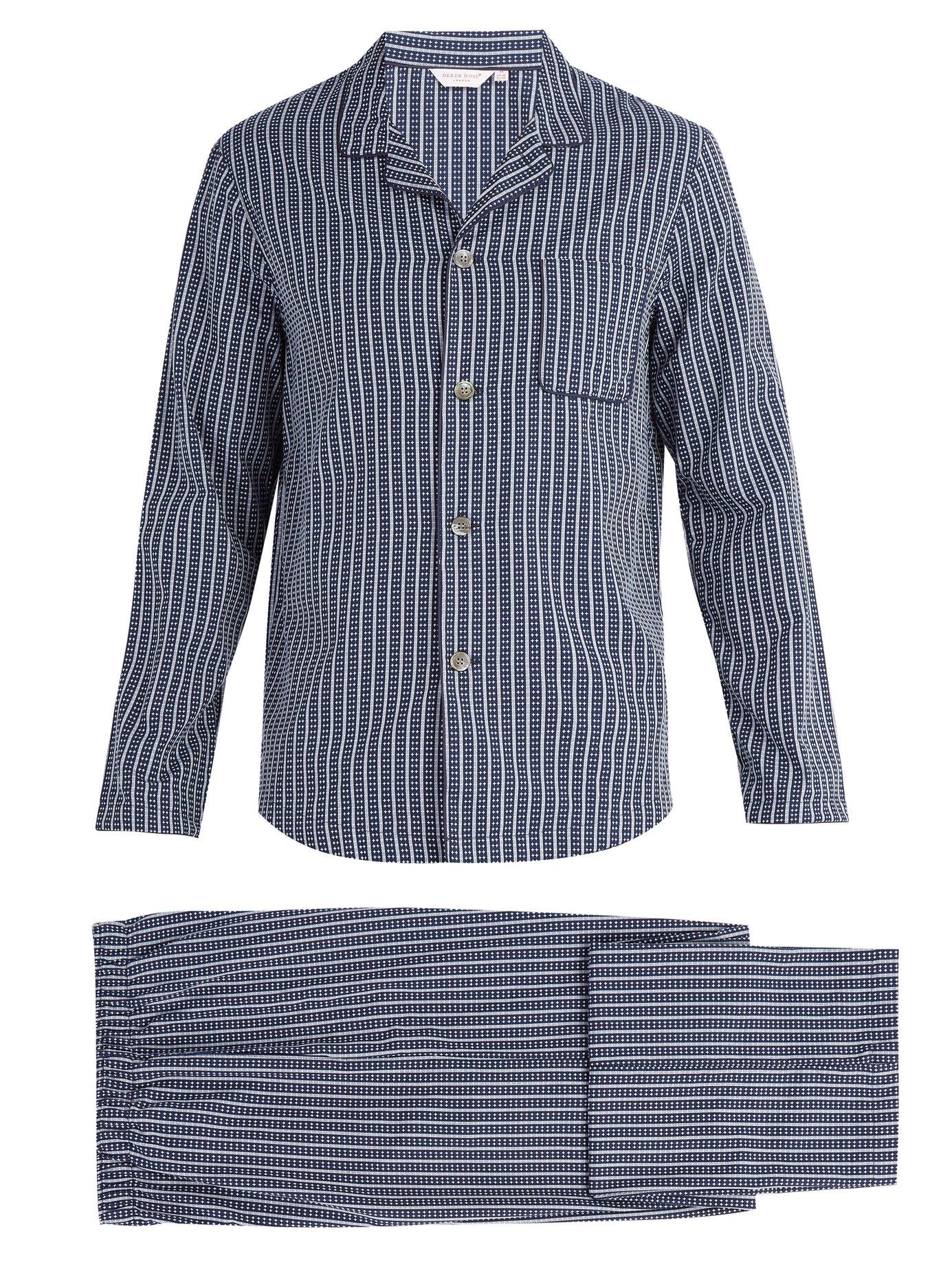 Pijama set£210 - DEREK ROSE Royal stripe and cross print cotton pyjama setWho doesn't like a Luxurious PJ set? This navy and white royal stripe and white cross print pyjama set is crafted from cotton poplin for a lightweight feel and cut to a relaxed shape. Buy it here