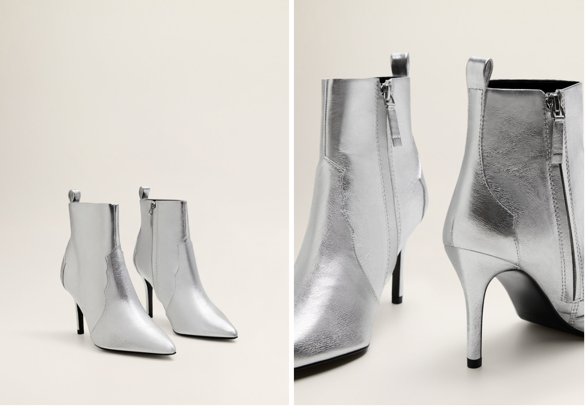Gorgeous silver metallic heel boots - buy them here
