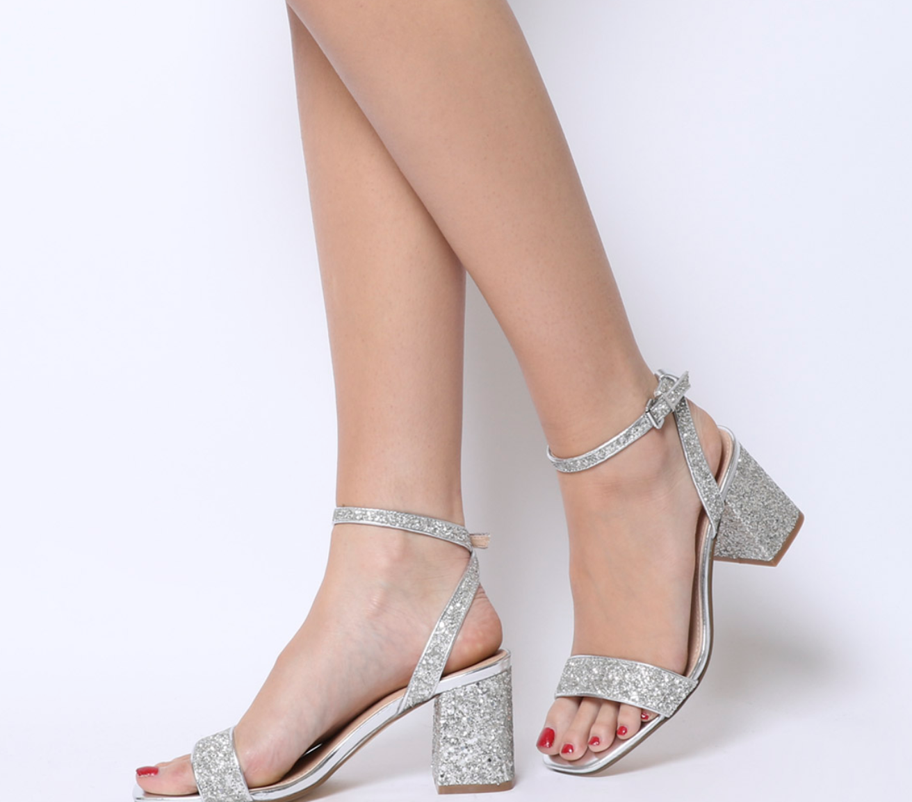 Millions Square Toe Two Part HeelsSilver Glitter - shop them here