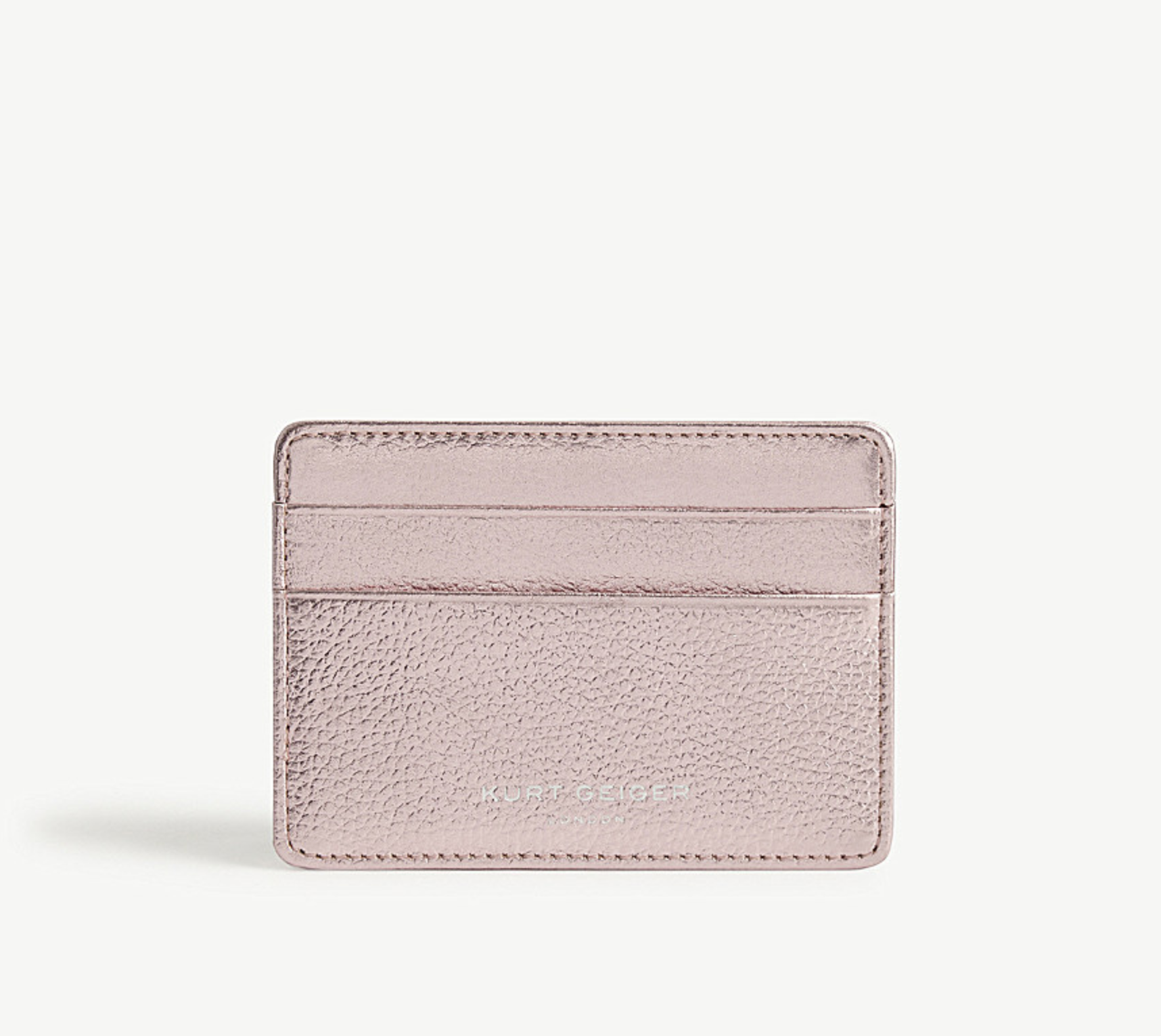KURT GEIGER LONDON-Metallic leather card holder-£35.00 - How gorgeous is this colour? With a bold metallic hue and sumptuously soft grained leather construction, this streamlined card holder is perfect for storing monetary essentials with its four fitted slots. Perfect for the ones who don't want to carry around a big wallet.