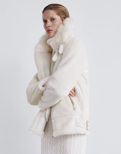 Faux fur biker jacket from Zara