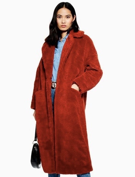Longline Borg Coat from Topshop