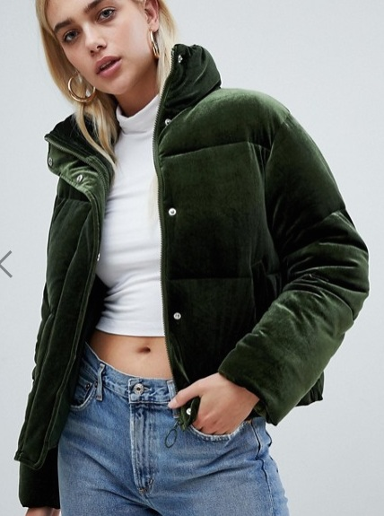 ASOS DESIGN ultimate puffer in velvet with funnel neck