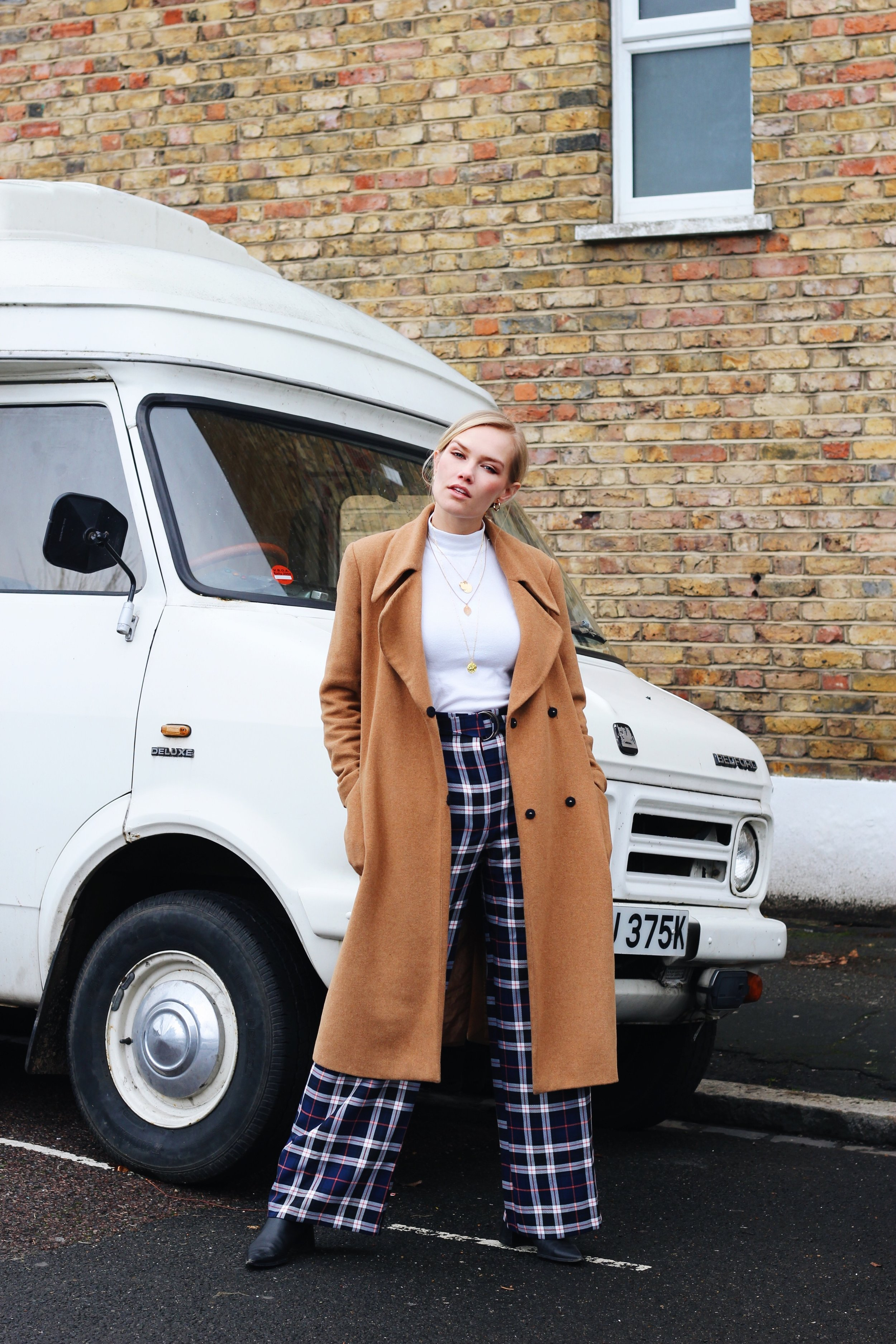 Here I am wearing plaid navy wide legged trousers from   Miss Selfridge   which you can find further down in this post in the  'SHOP THE LOOK'  section.