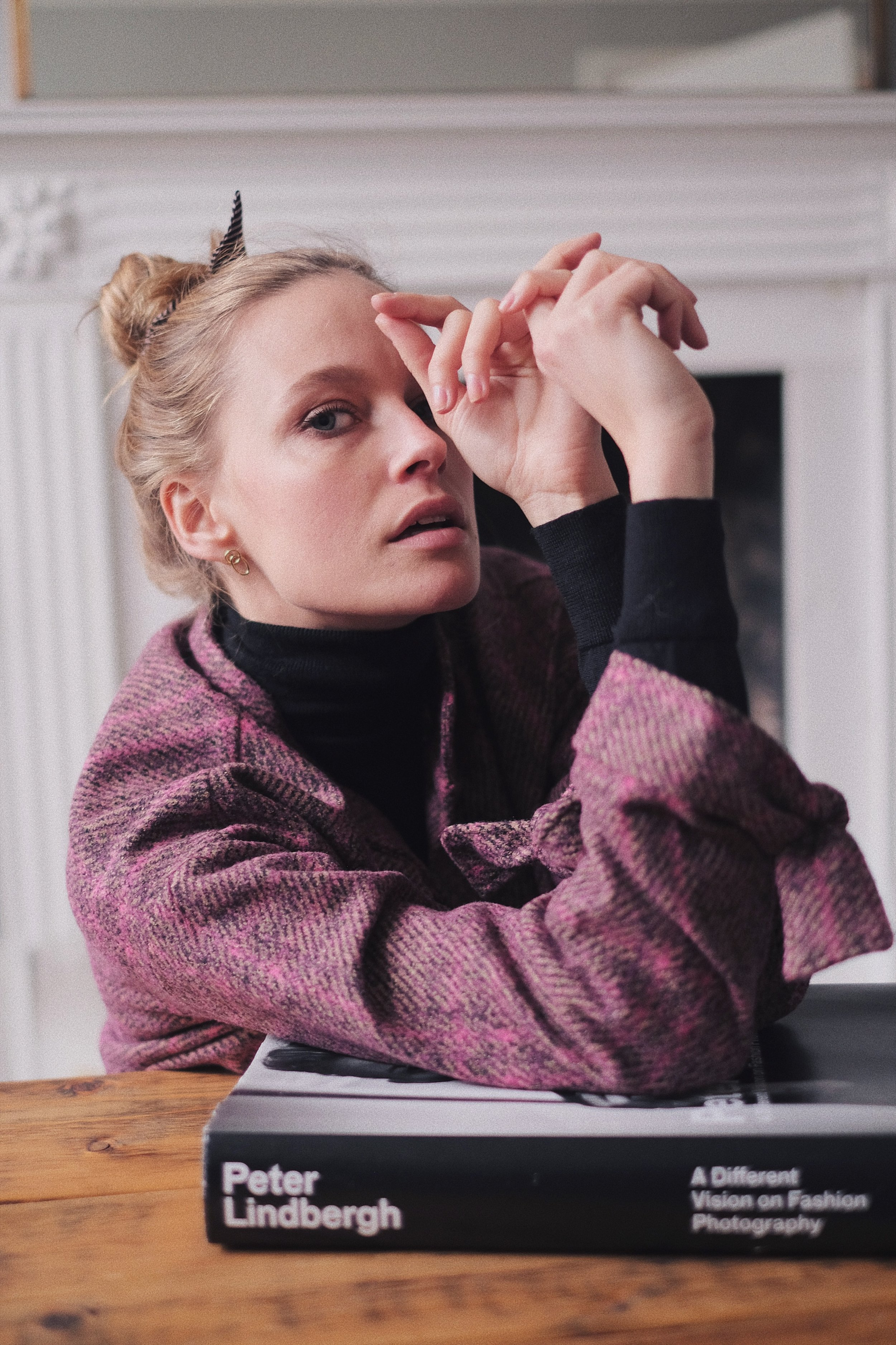 Annabell is wearing two-piece set from mango, with falke tights and a uniqlo merino wool roll neck