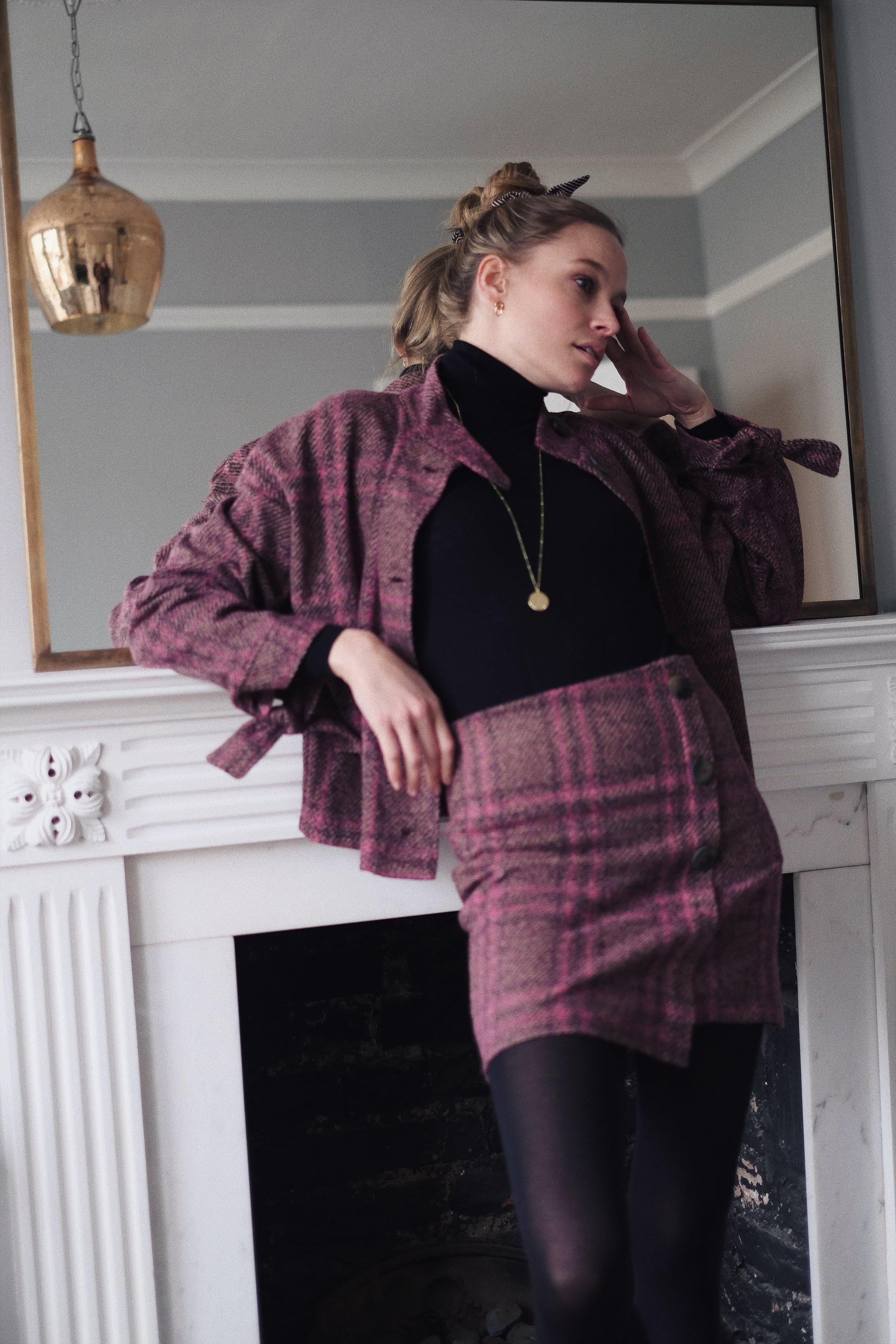 Annabell from www.the4ofus.co.uk is wearing a check tweed two-piece set from mango, with falke tights and a uniqlo merino wool roll neck, gold necklace by Ania Haie
