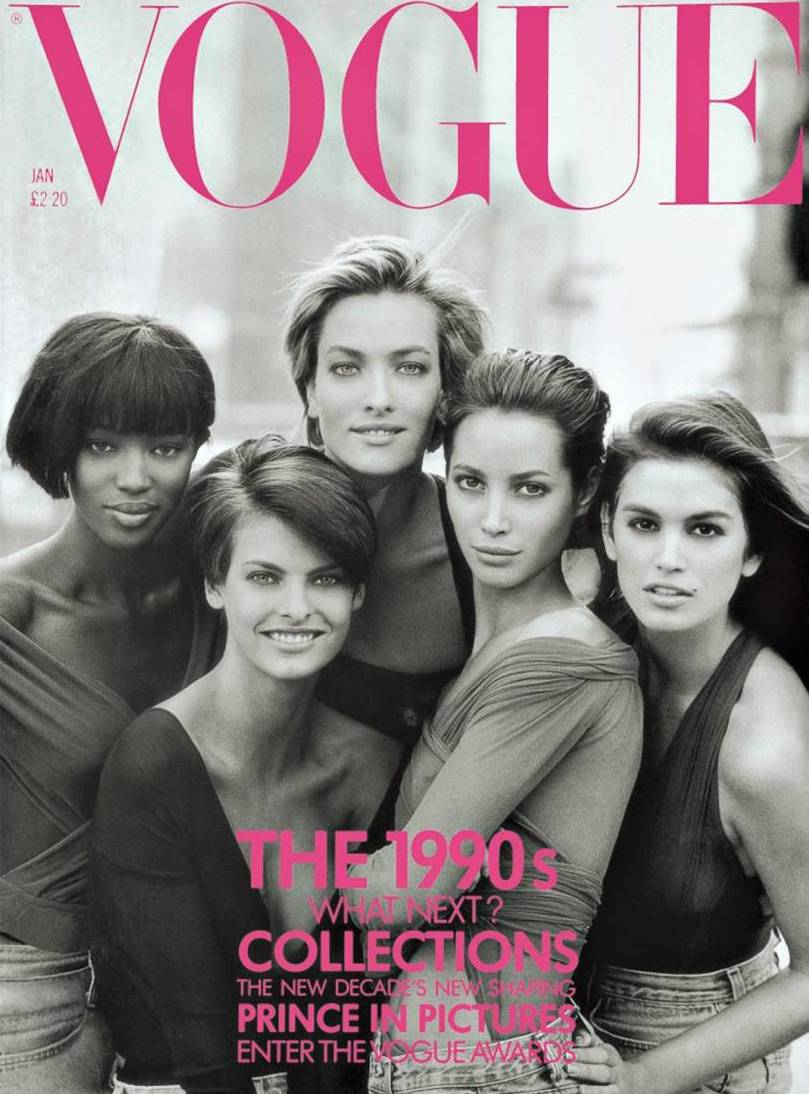 'THE BIG FIVE' - 'The Big Five' was the term used to describe the original supermodels; Cindy Crawford, Naomi Campbell, Christy Turlington, Linda Evangelista and Tatjana Patitz. But it's almost more correct to say 'The Big Six' as Claudia Schiffer was also very much part of the 'original supermodel group' but reached the height of her career slightly later than the rest, replacing Tatjana Patitz as one of the top 5. A bit later Kate Moss joined them and Tyra Banks was also not far behind. The only model who has reached their fame in later days is Gisele Bundchen.Naomi Campbell was the first black model to appear on the cover of French and British Vogue. It was a big deal back then. Unbelievable and unacceptable that it didn't happen before the 80s, but sadly that is how it was back then. There were many beautiful black models before Naomi, they were famous too, but nobody dared to put them on a cover. Have you seen Iman? Look her up, she's amazing!