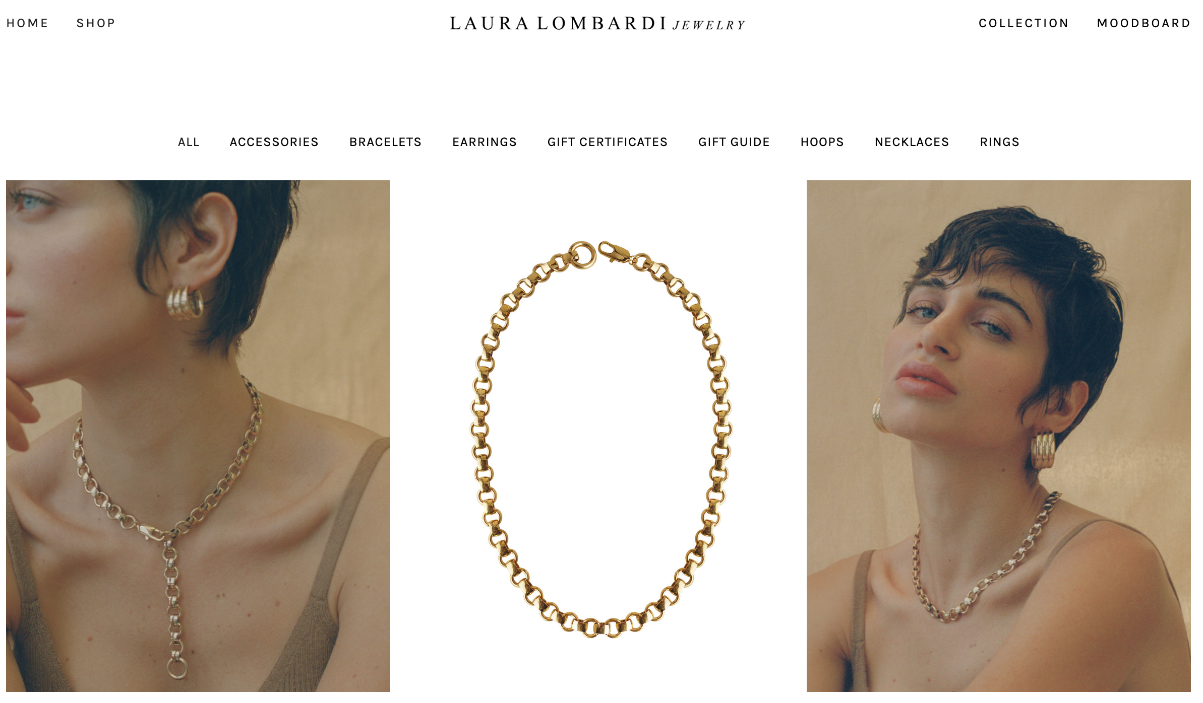 Laura Lombardi - Laura Lombardi's jewelry is made with almost exclusively raw or recycled materials. Sustainability is at the core of her designs and nature is used an an inspiration for the narrative behind her jewelry. Shop her gold hoops or chain necklaces - both are staples in my collection.