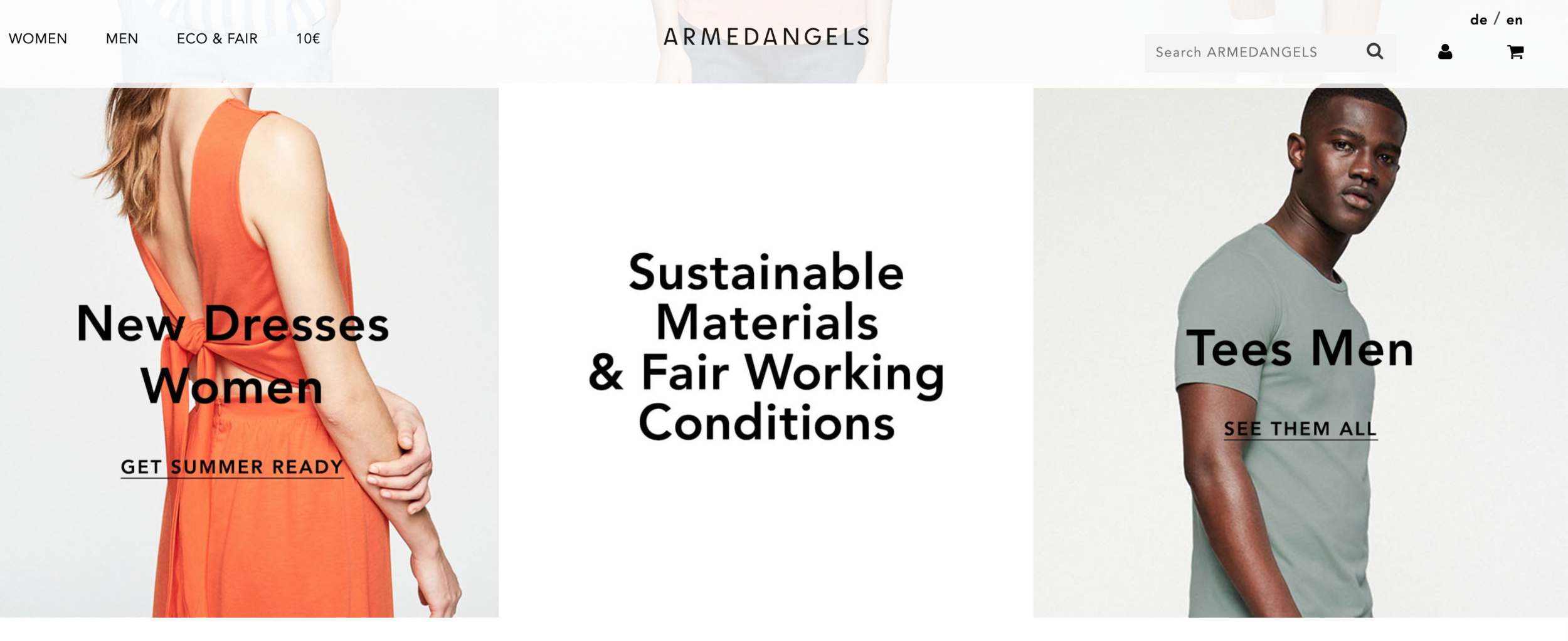 ARMEDANGELS - For basic pieces that are affordable and eco-friendly. Sustainability is at the core of ARMEDANGELS. Even the packaging used to ship the clothes is made from 40% grass and 60% FSC-certified wood pulp. On top of the clothing, the website features many posts to help educate around sustainable fashion and living eco-consciously.
