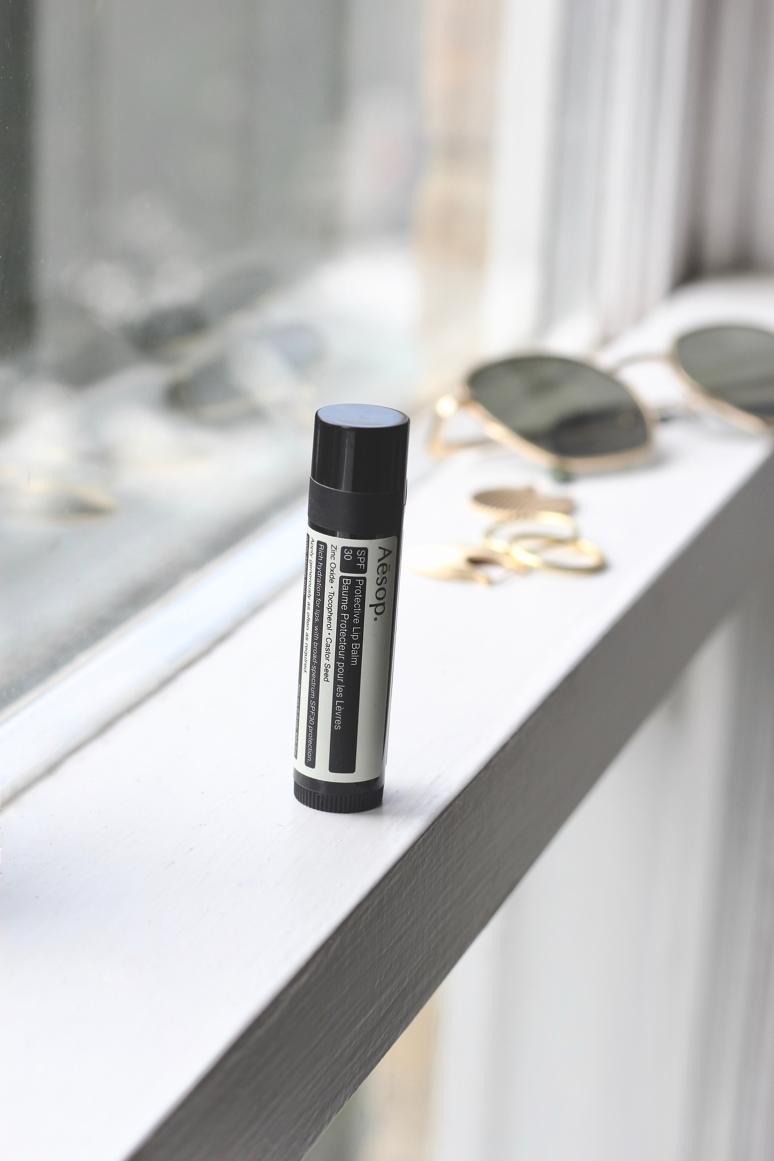 Don't forget about your lips! - This lip balm from Aesop contains SPF 30, and is made with zinc oxide, tocopherol, caster seed and jojoba. Keeping the lips soft and healthy!Shop this product here.