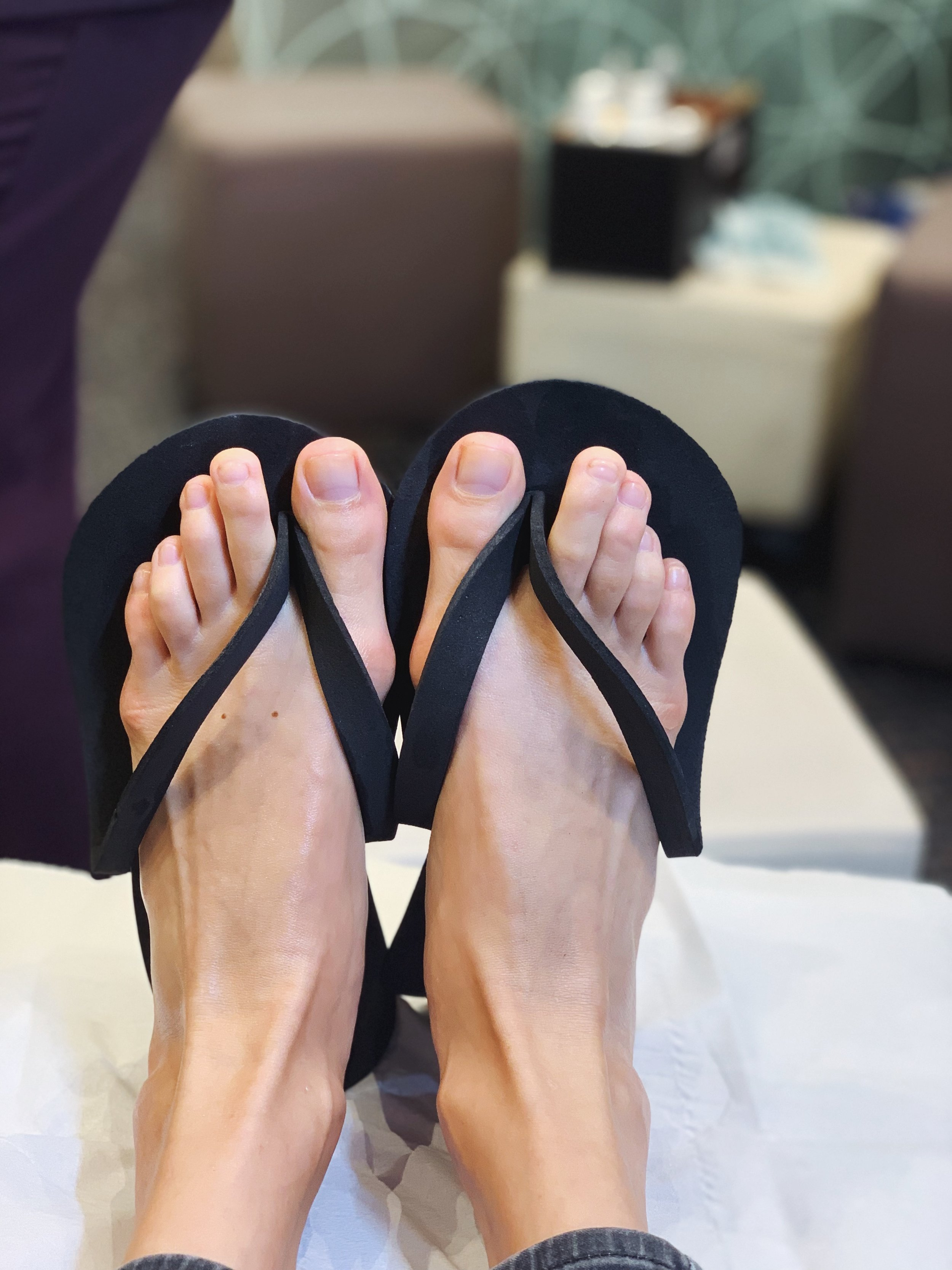 Annabell's super smooth feet and shiny toe nails after her Medical Pedicure. Will be back for sure!