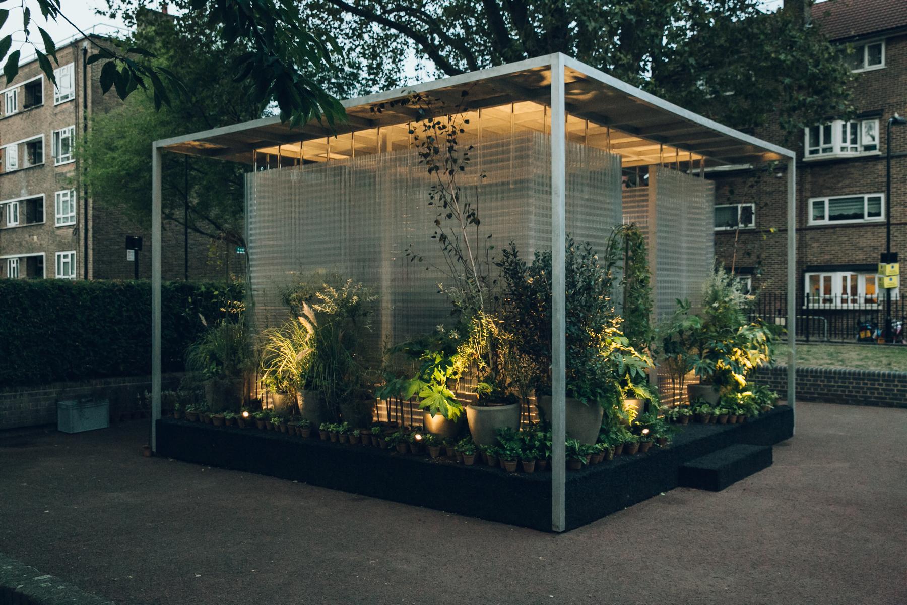MINI Living installation at dusk