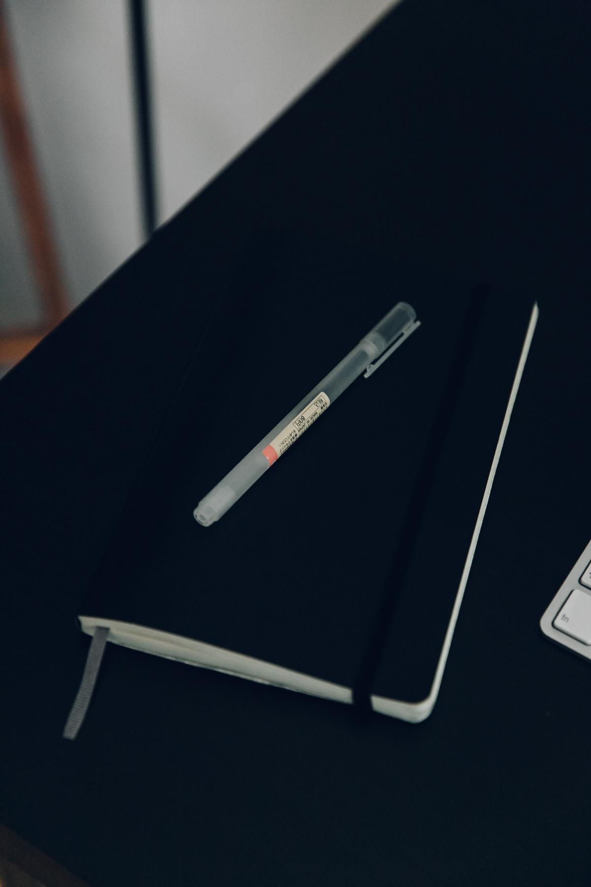 Muji pen and Moleskine diary.
