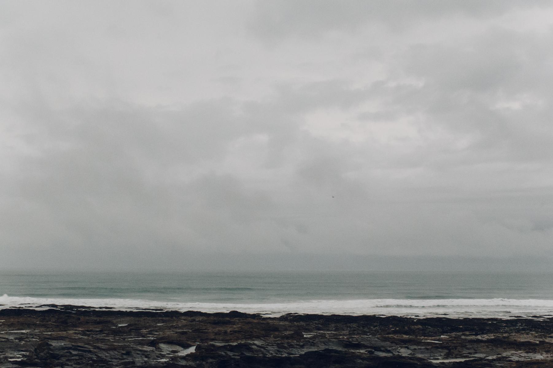 A stormy coastal view.