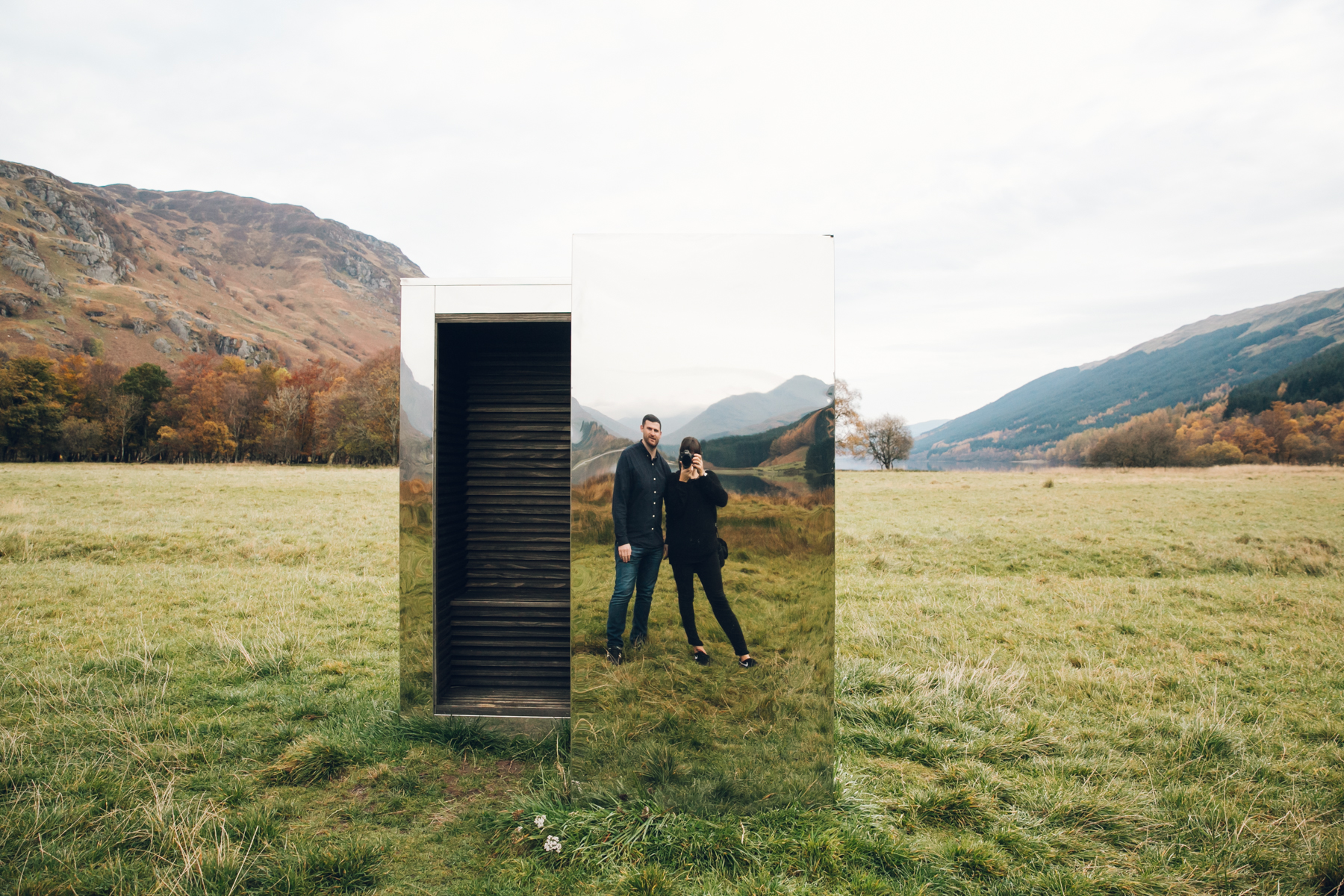 Selfie in the Loch Voil mirrored LookOut.