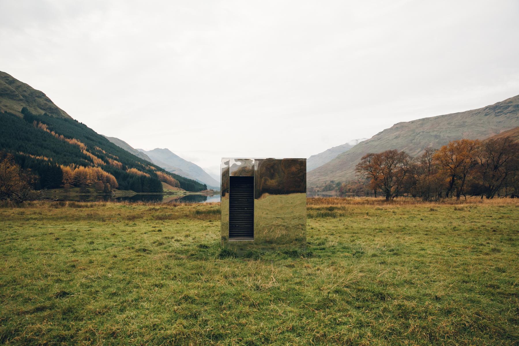 Mirrored LookOut in Autumnal Scotland on Loch Voil.