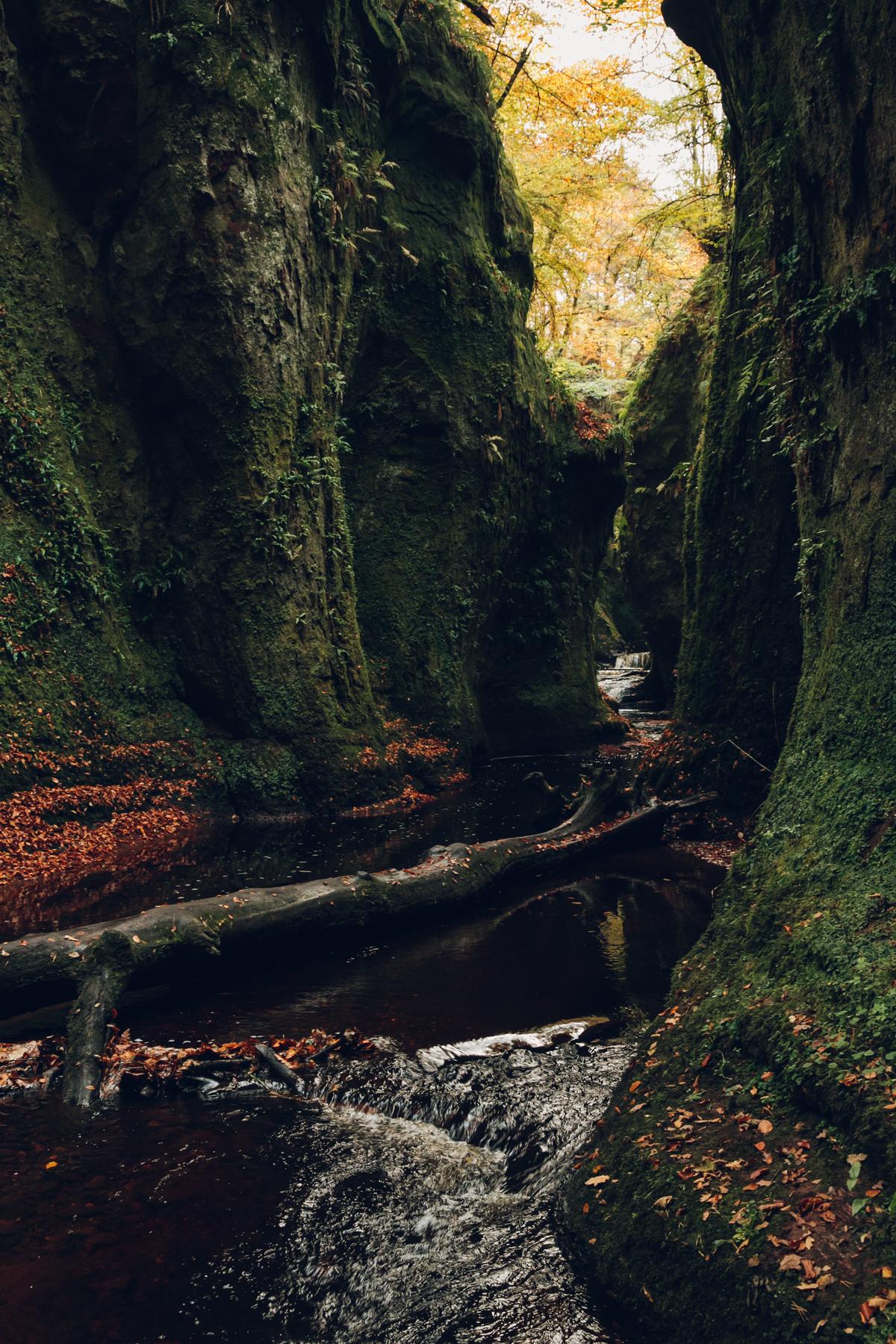Finnich Glen in Autumn in Scotland.