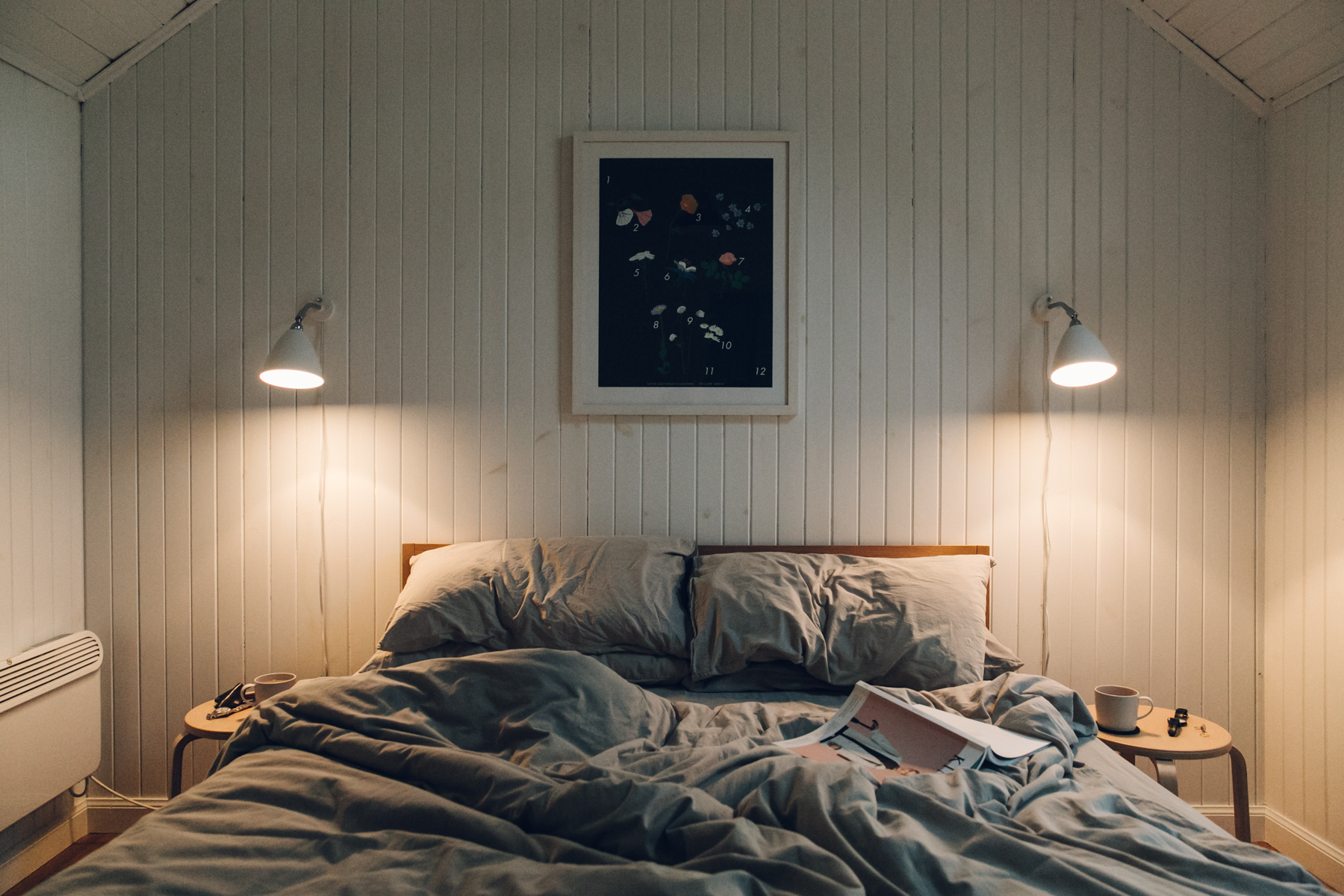 The Scandinavian-inspired bedroom inside The Crofter's House on the Isle of Skye.
