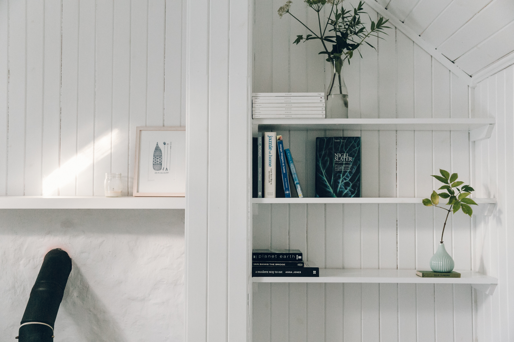Scandinavian-inspired design details in the living room inside The Crofter's House on the Isle of Skye.