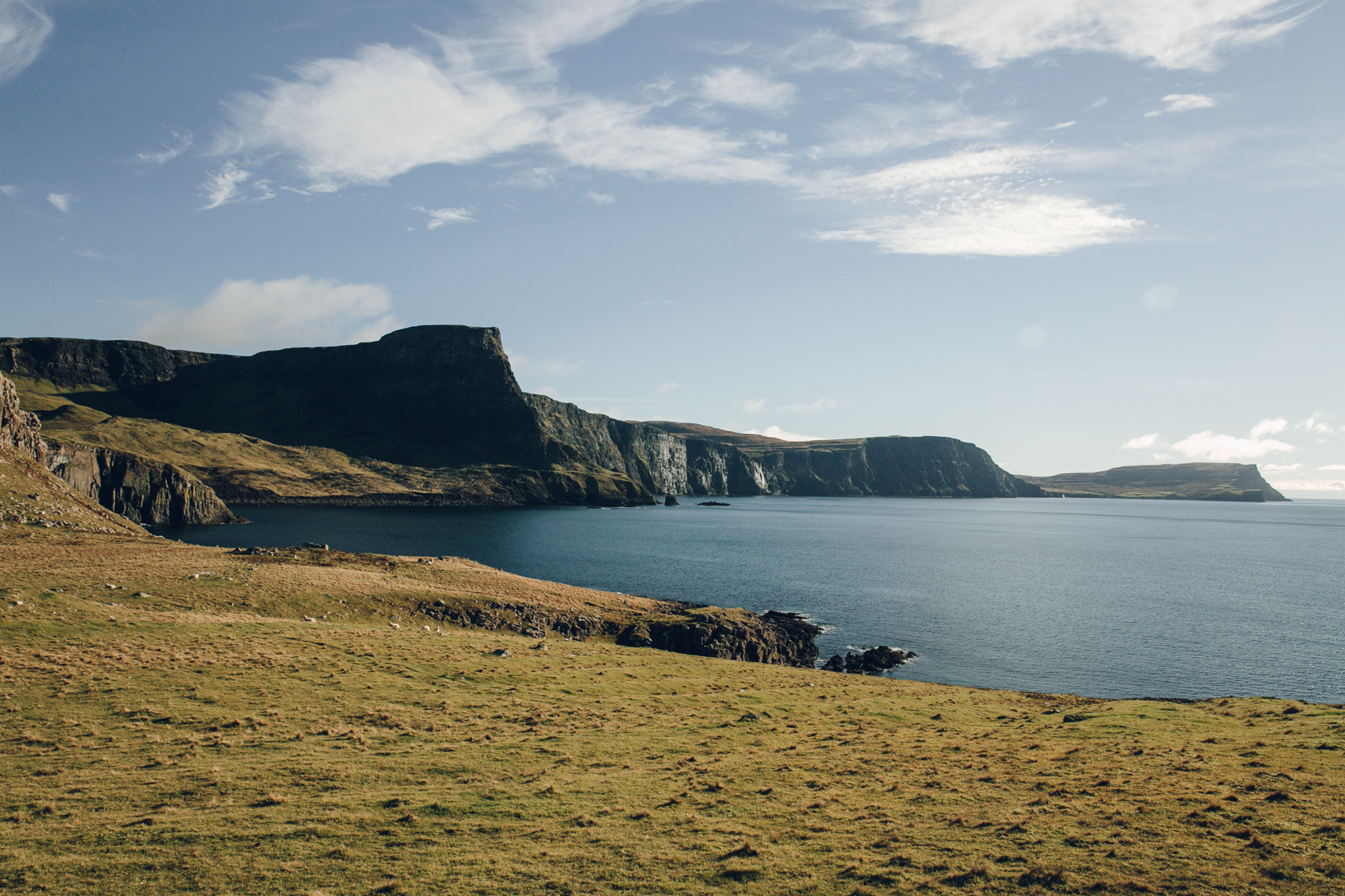 The view from Neist Point Lighthouse on the Isle of Skye in Scotland.
