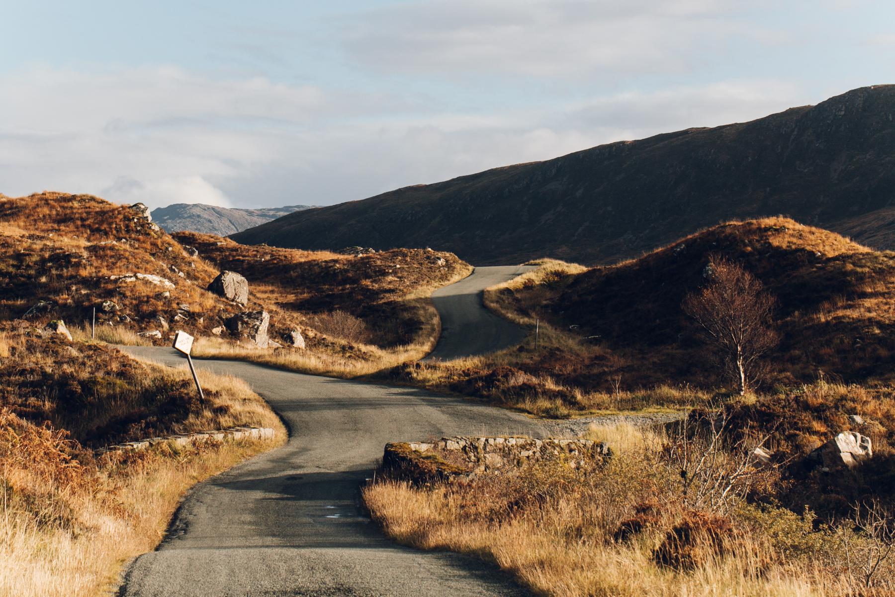 Winding roads on the Isle of Skye in Scotland.