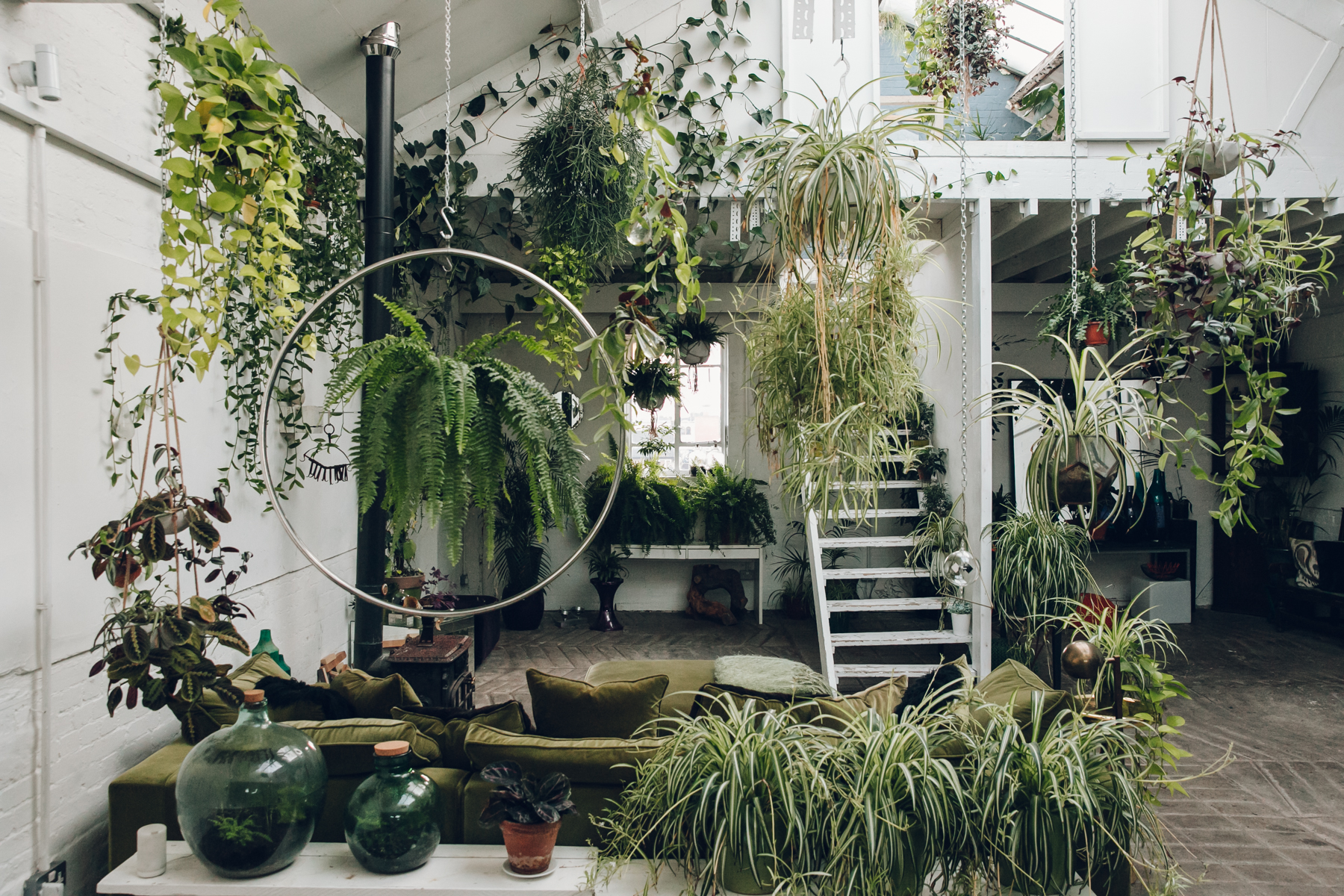 Clapton Tram - a plant-filled warehouse space in London.