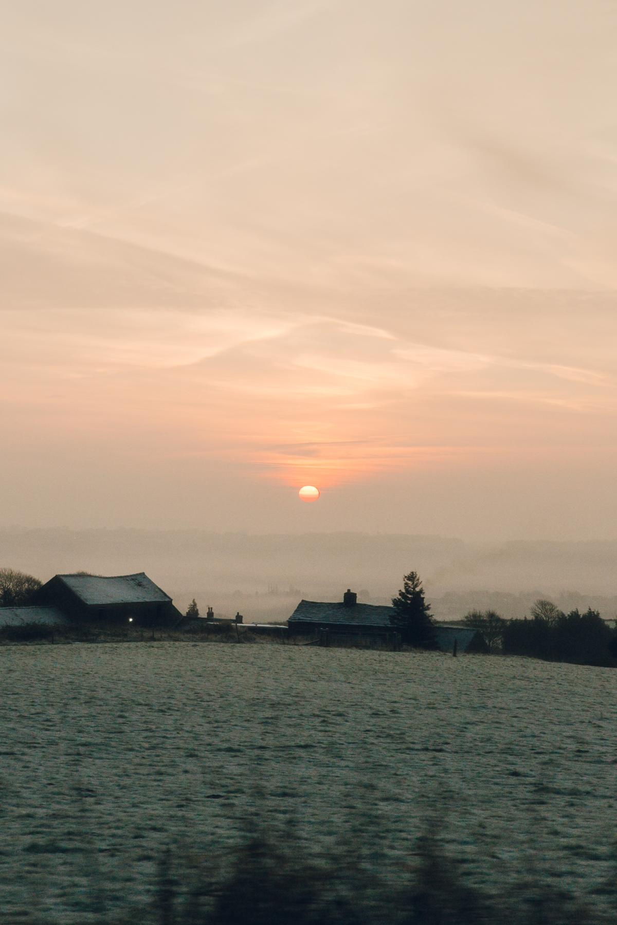 Sunrise over Derbyshire fields in the Winter.