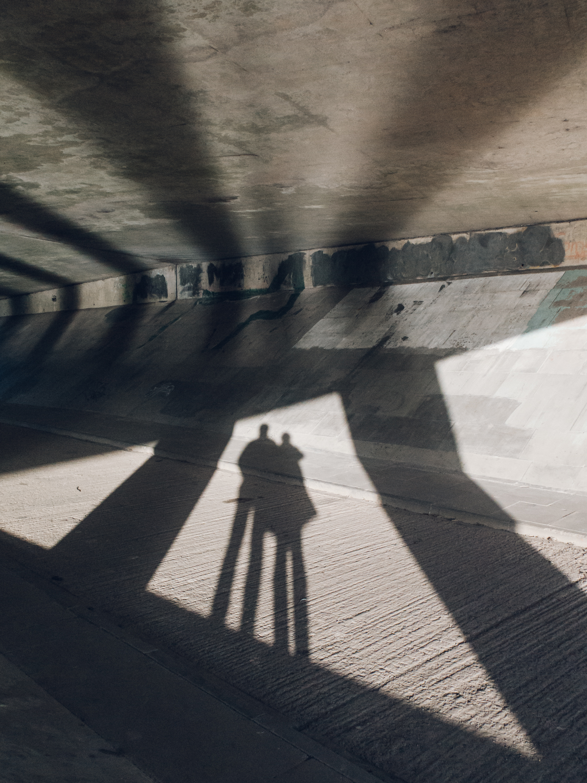 Our shadows on a winter walk by the river.