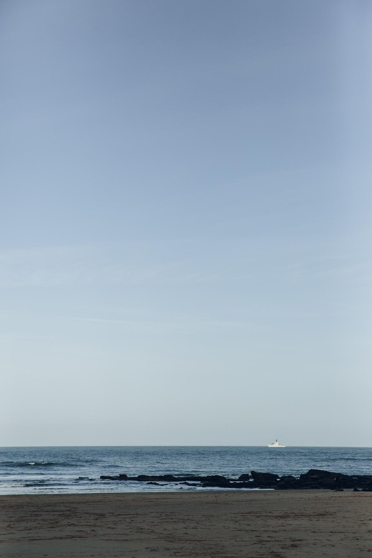 Ship on the horizon at Tynemouth.