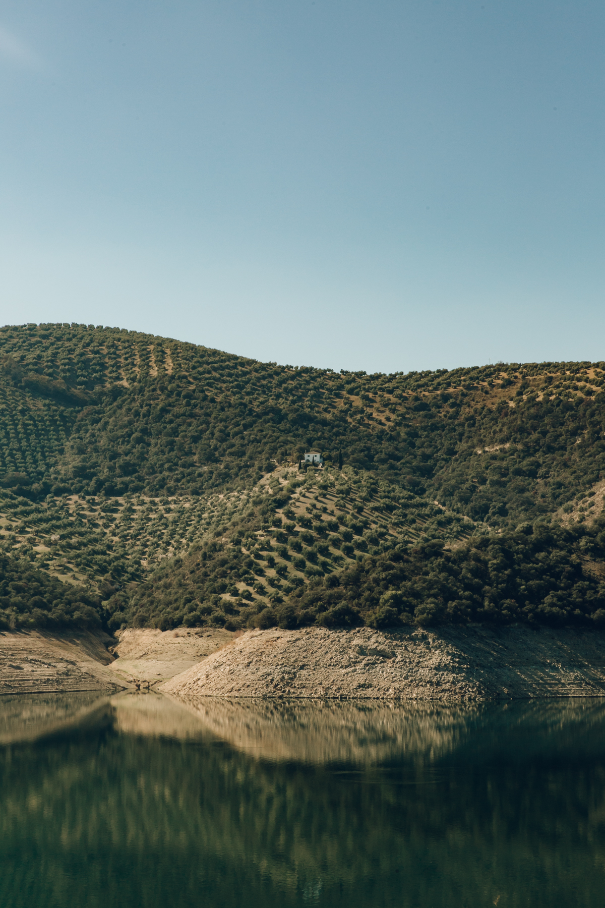 The view of from Iznajar Lake in Andalusia.