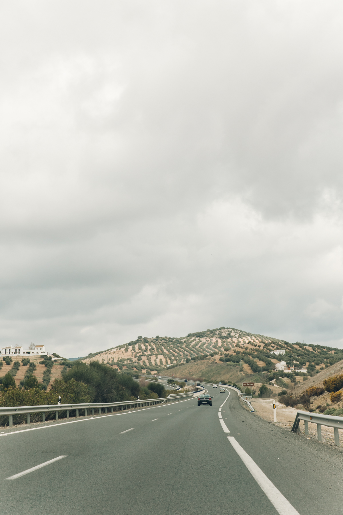 Winding roads through the hills in Andalusia, Spain.
