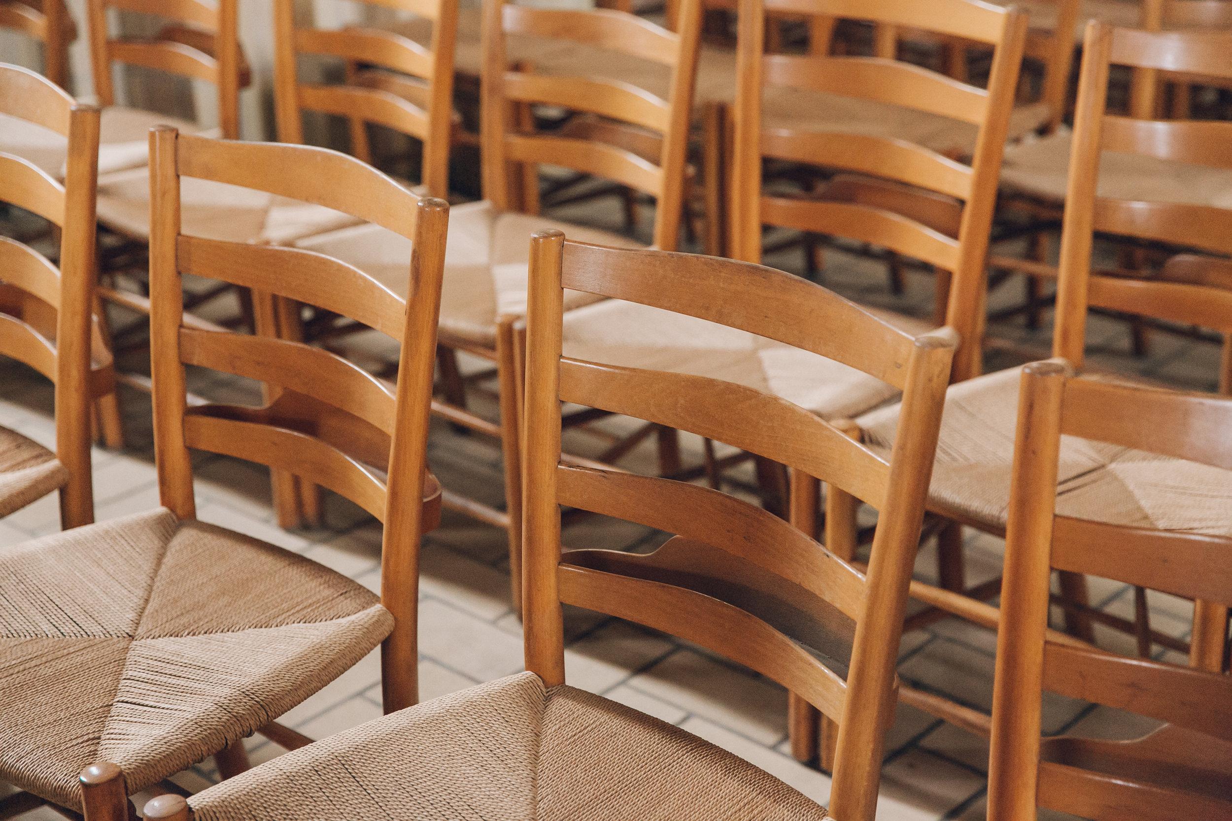 Wooden chairs at Grundtvig's Church in Copenhagen.