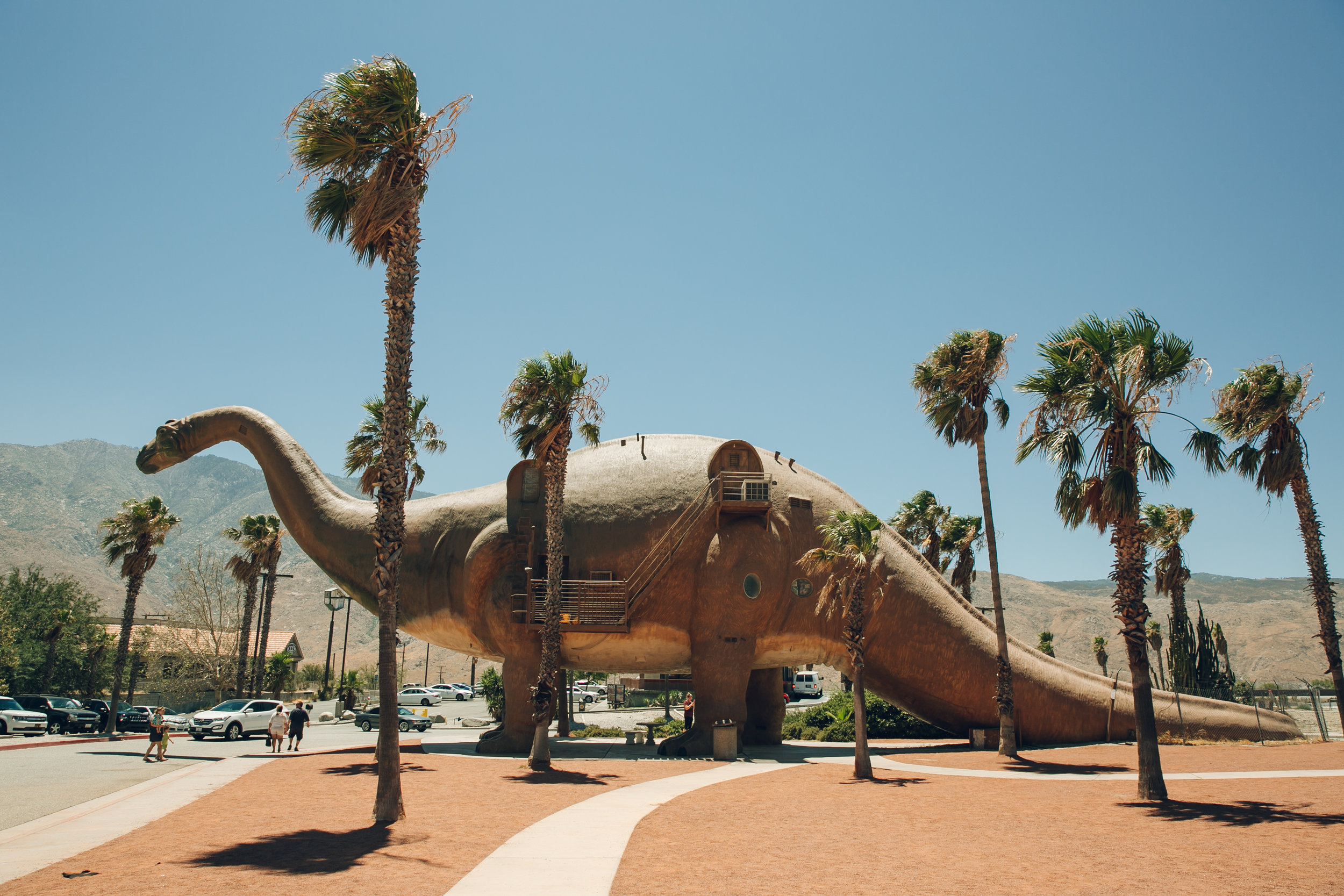The (bizarre) Cabazon Dinosaurs in between Palm Springs and LA.