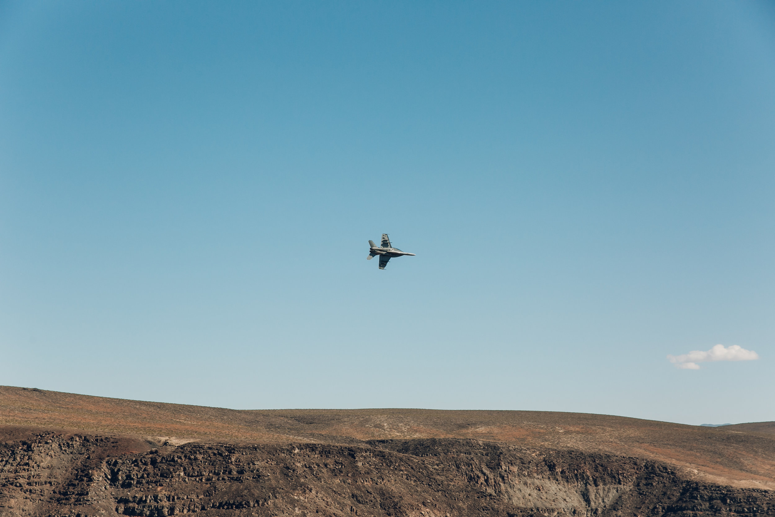 Low-flying jets over Star Wars Canyon in Death Valley.