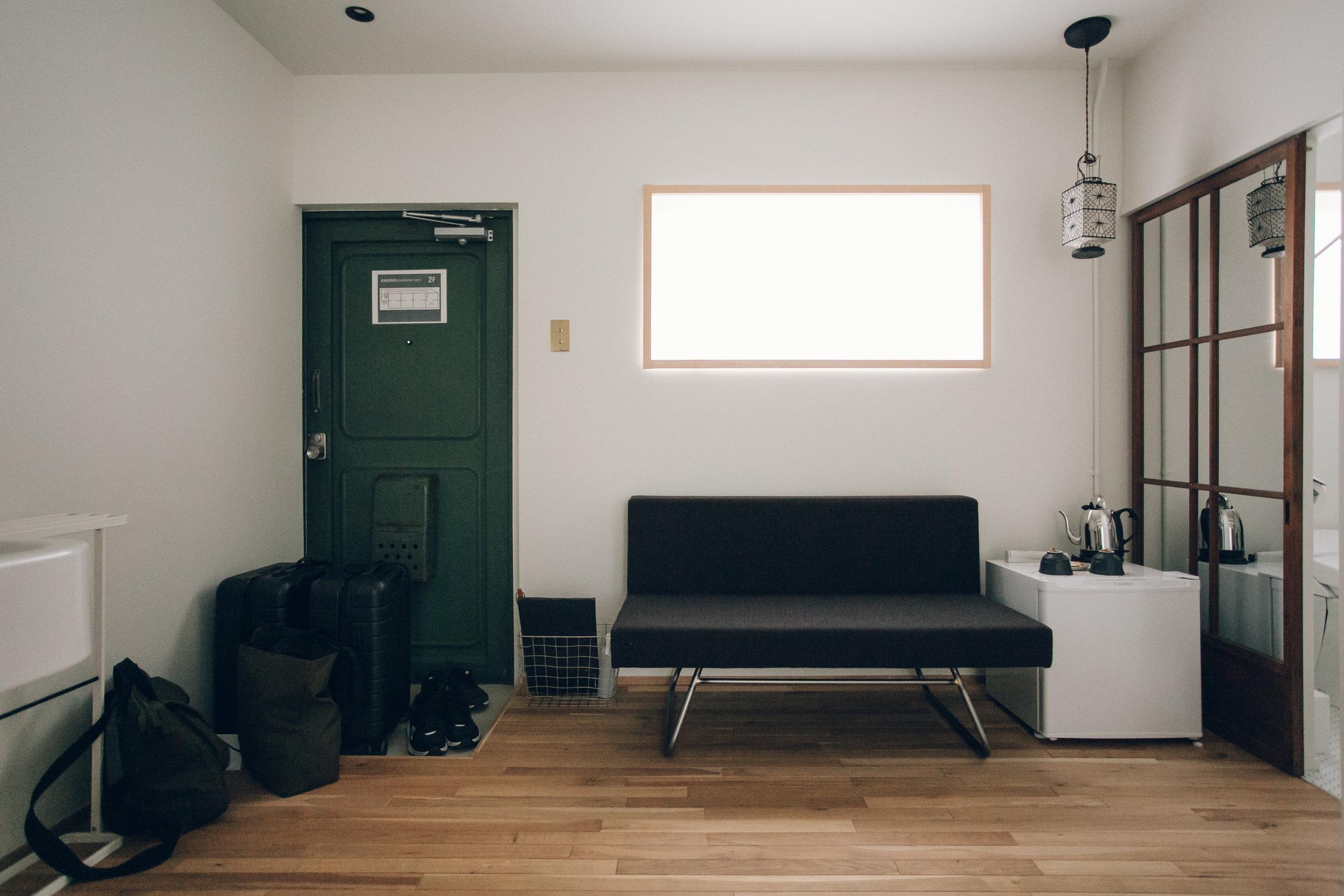 Concrete interior. Our Airbnb in Kyoto - Haarkon in Japan.