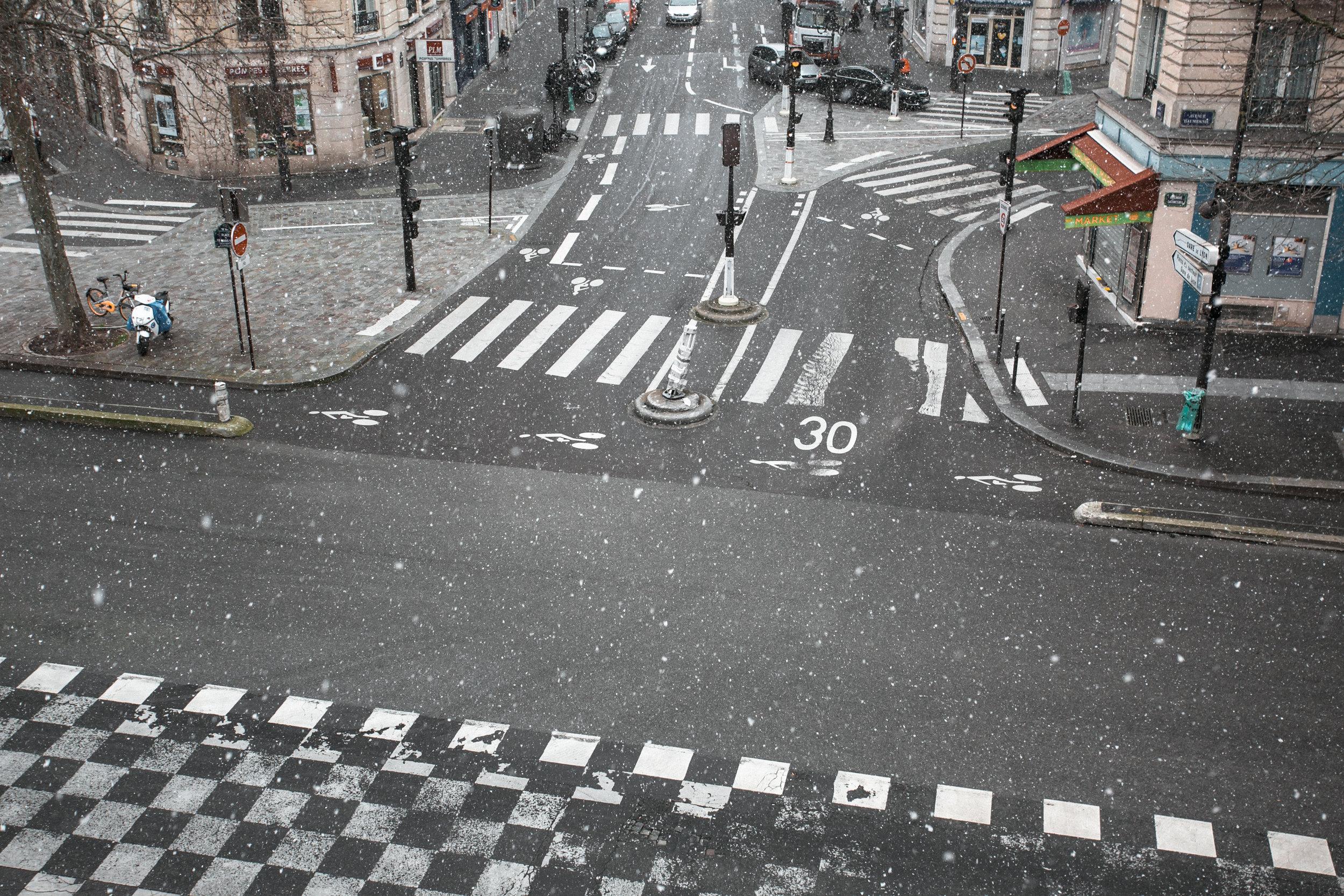 Paris in the Winter by Haarkon. Walking on the Promenade Plantee in the snow.