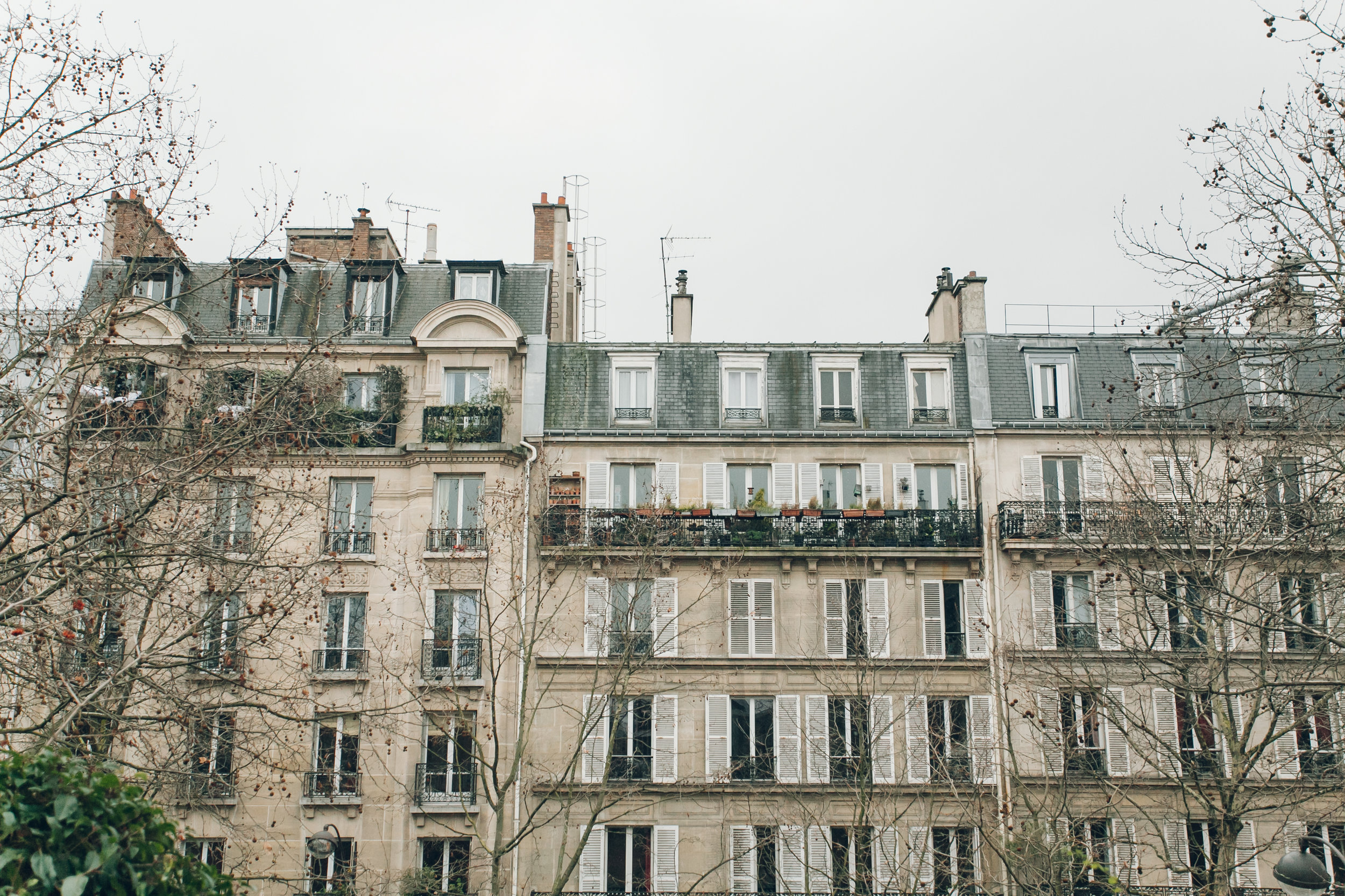 Paris in the Winter by Haarkon. Parisian rooftops in the snow.