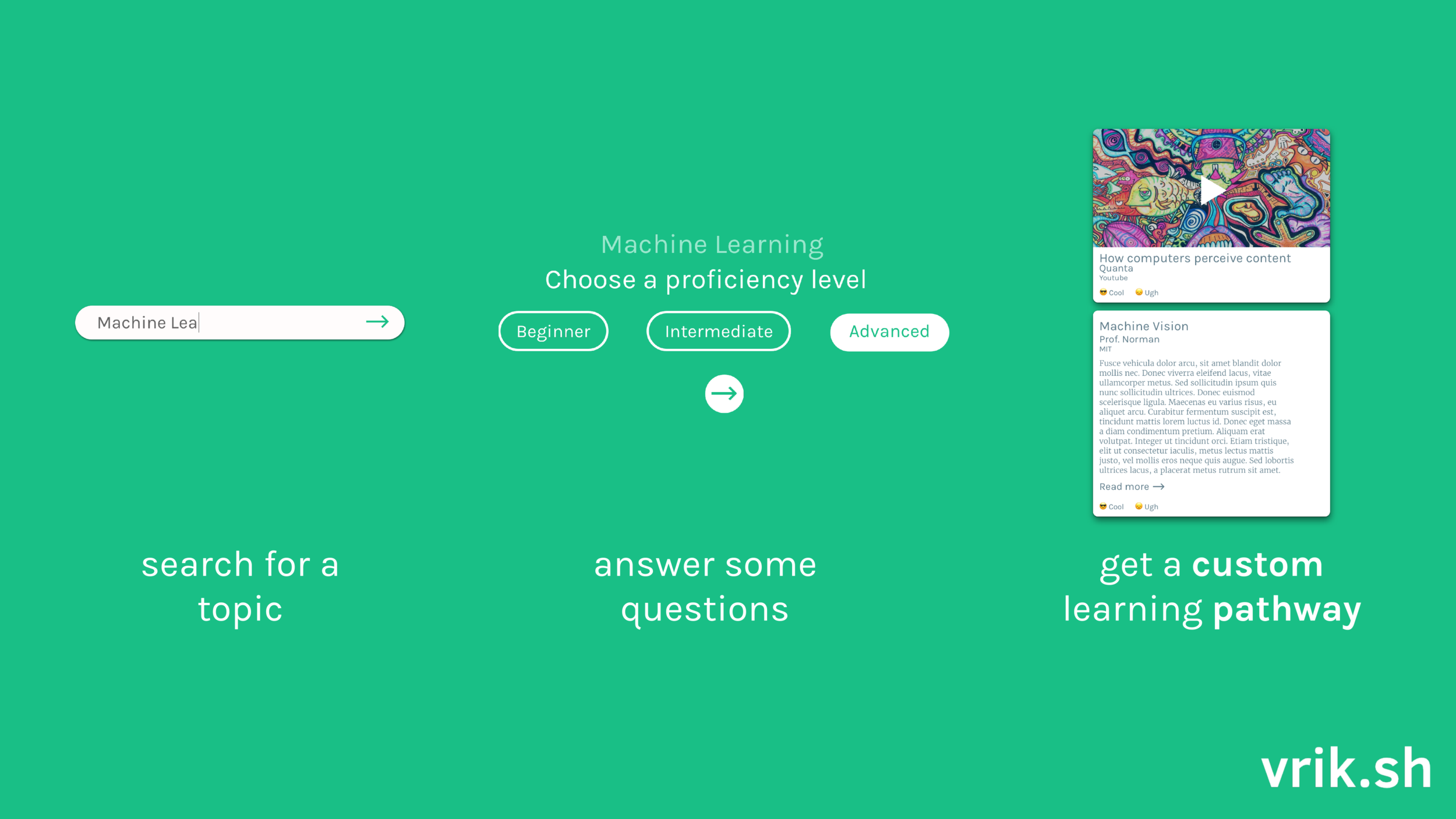 As simple as 1-2-3 - We wanted to offer a simple 3 step flow. The user queries for a topic, answers a set of questions about their learning profile, and gets served a custom learning pathway.
