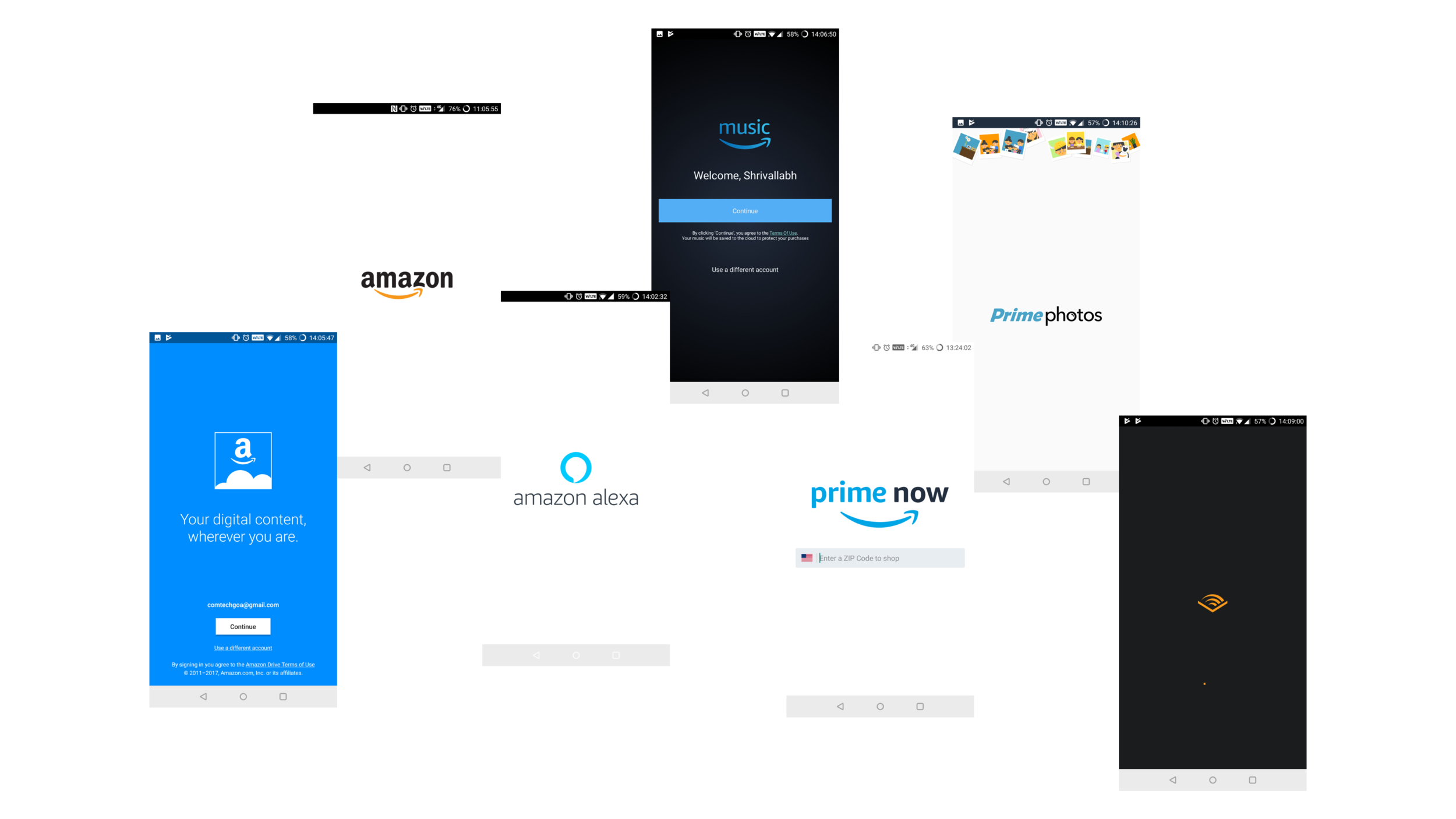 A hodgepodge of brands - Amazon has a laundry list of sub-brands, sewn together by the Amazon name. But the logos, typography, graphic style and color palette of each sub-brand is different and incoherent.