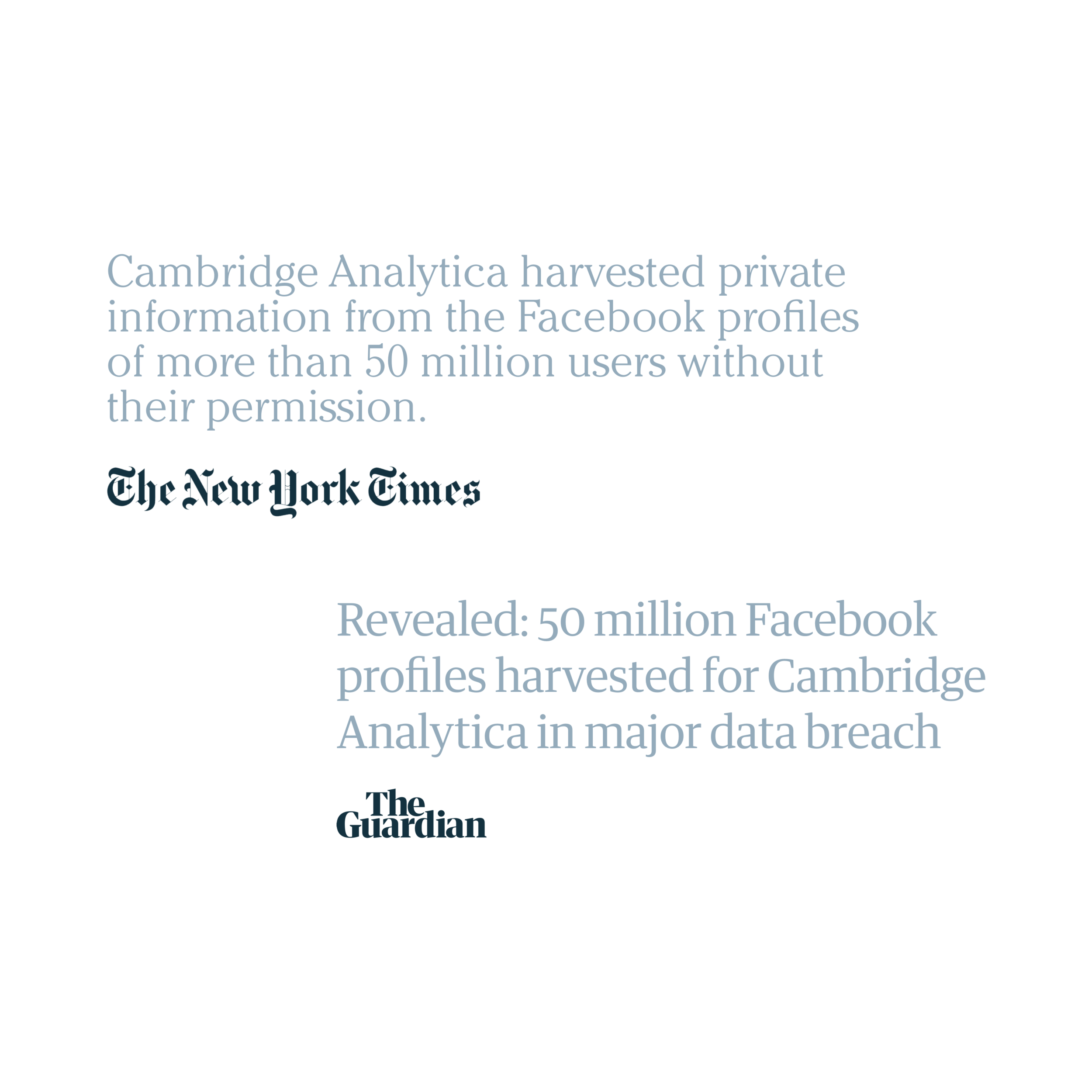 Data privacy blunders - Facebook has been involved in some major data privacy blunders, taking a big hit to the brand's credibility. Corporate messaging and organizational action aside, how they design the interface around privacy control will be crucial in recovering the lost trust and brand credibility.