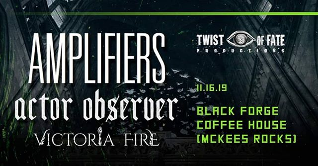Last headliner of 2019 with our new friends in @actorobserver and @victoriafireband at @blackforgeshop by @twistoffateproductions .  Let's get real weird at this one, friends.