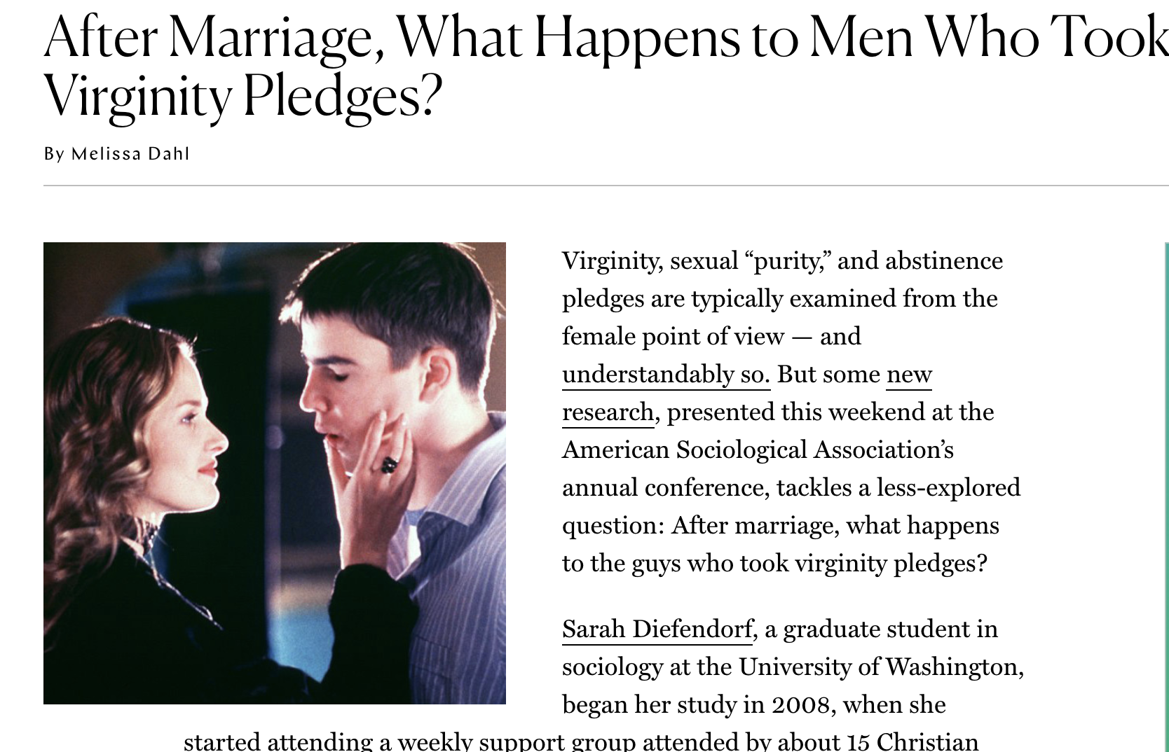 After Marriage, What Happens to Men Who Took Virginity Pledges?