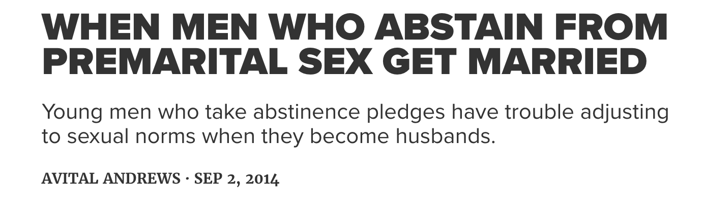 When Men Who Abstain From Premarital Sex Get Married