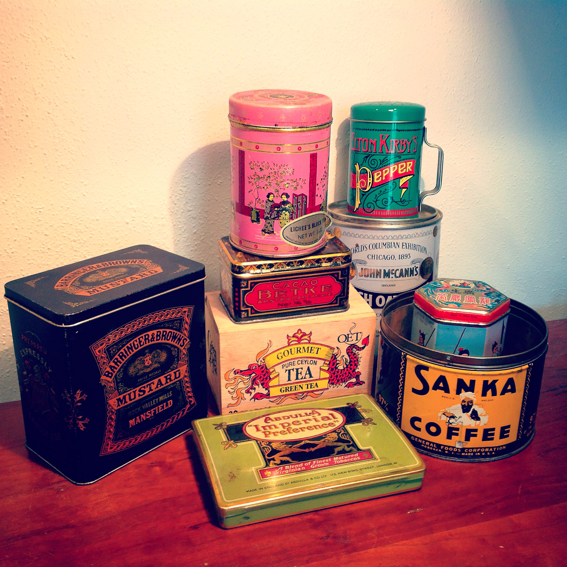 A small sampling of my vintage tin collection.