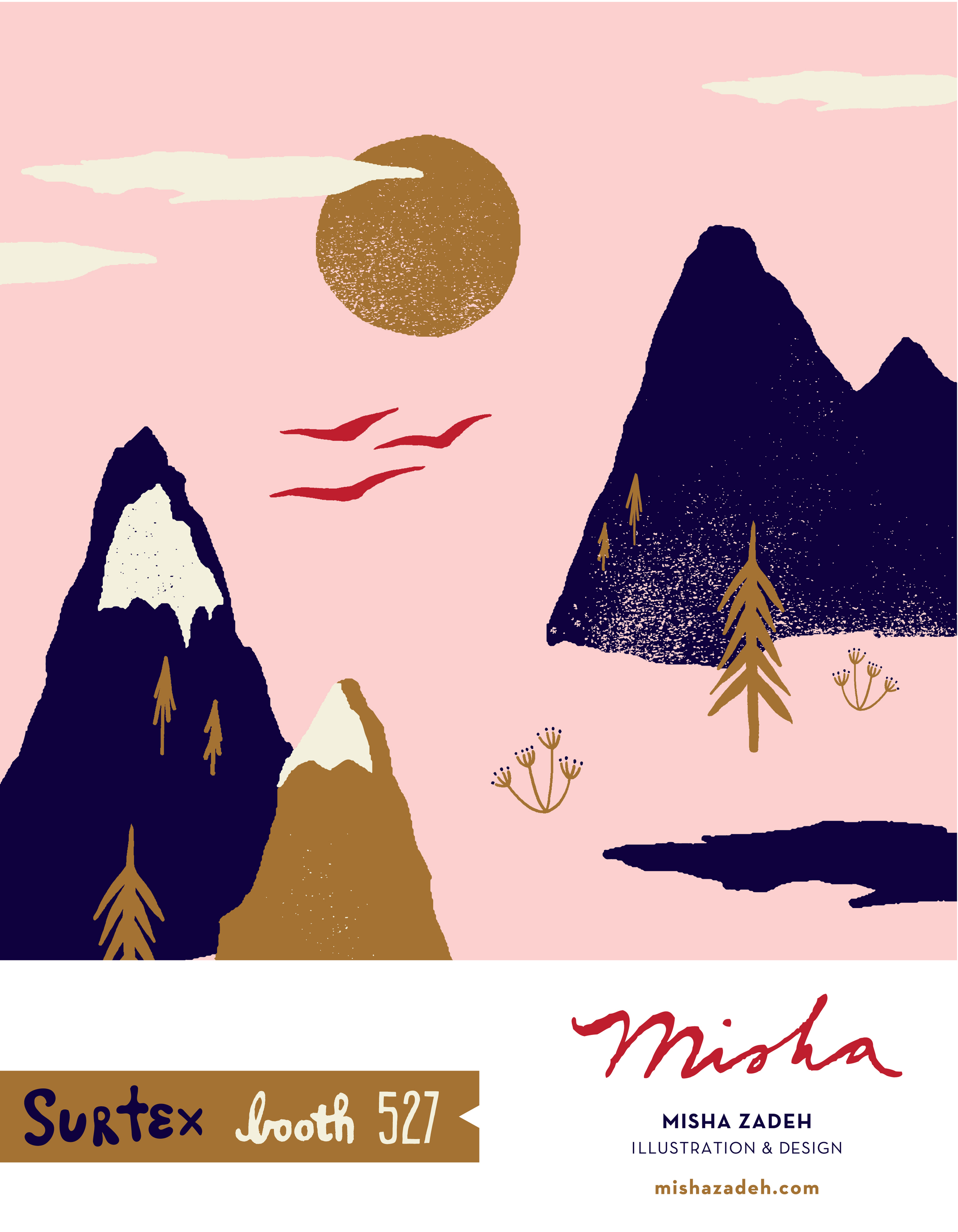 Misha Zadeh Debuts Mountain Scape collection at SURTEX 2016 / Booth 527.